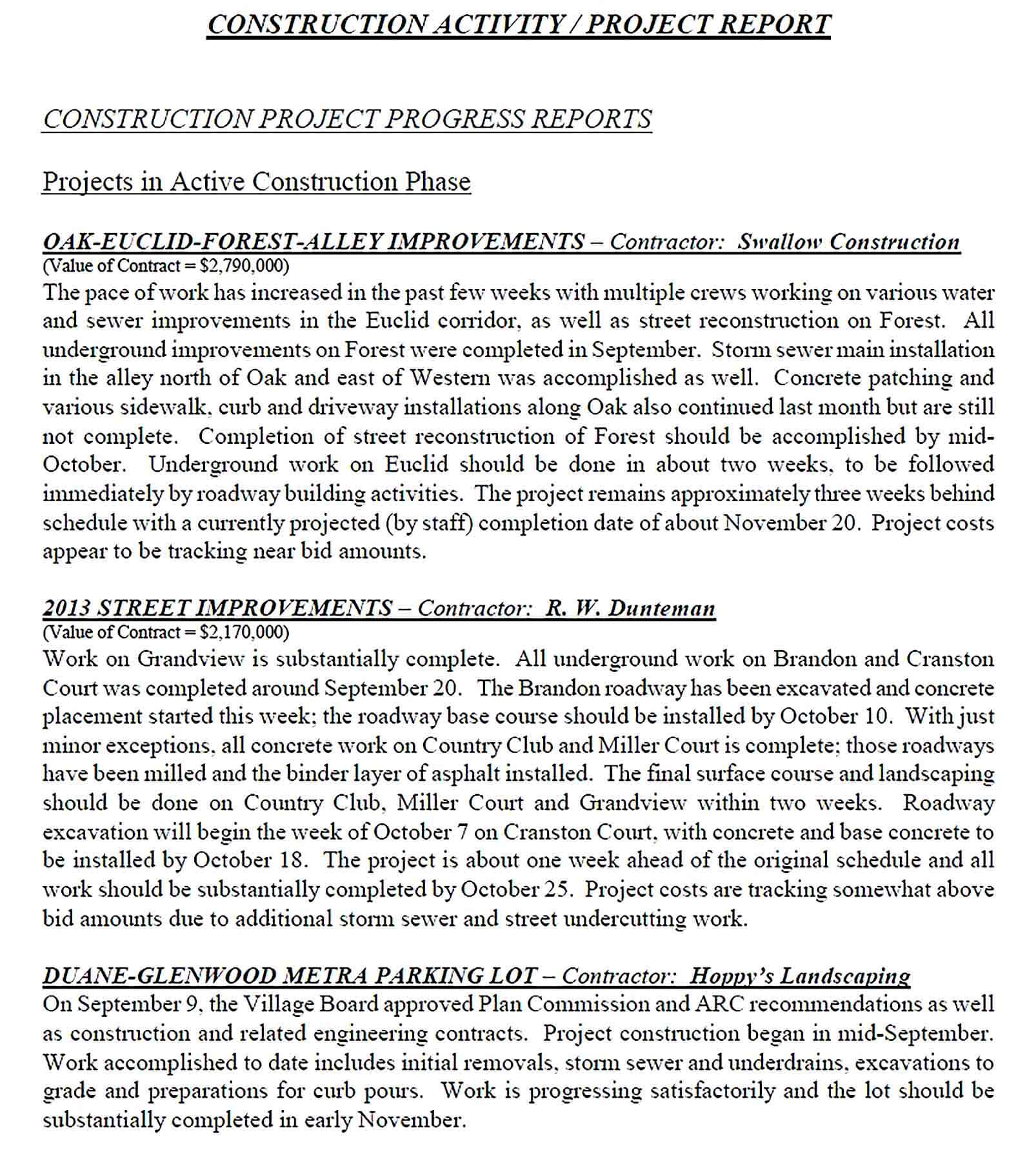Sample Construction Activity Project Report Template