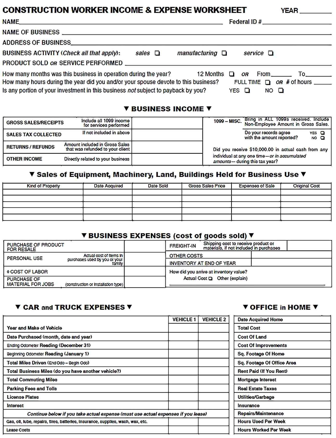 Sample Construction Company Expense Report