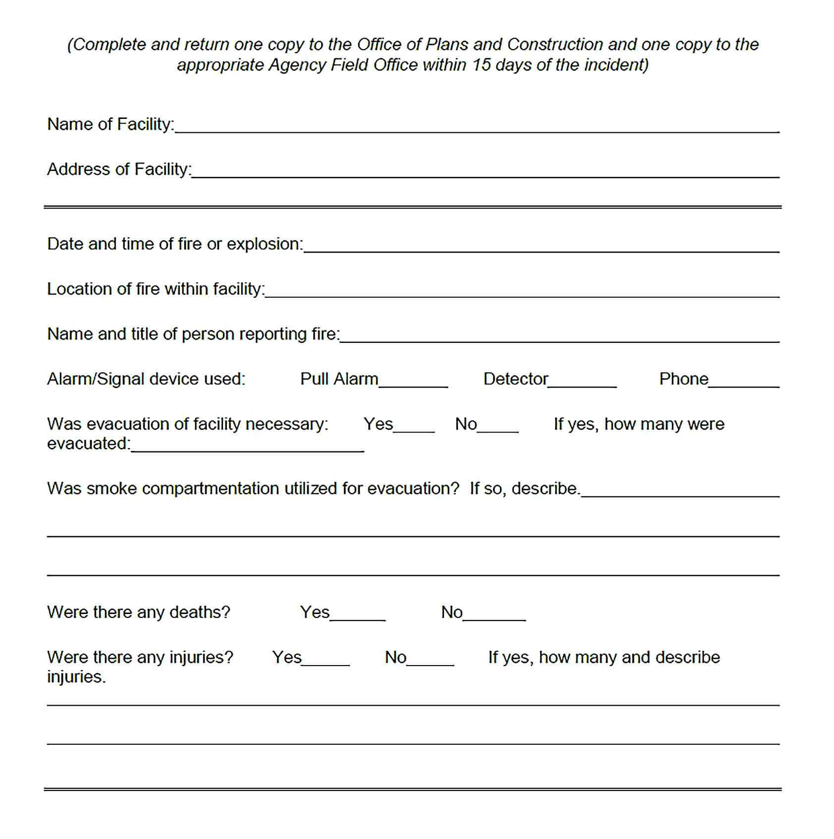 Sample Construction Fire Incident Report Template