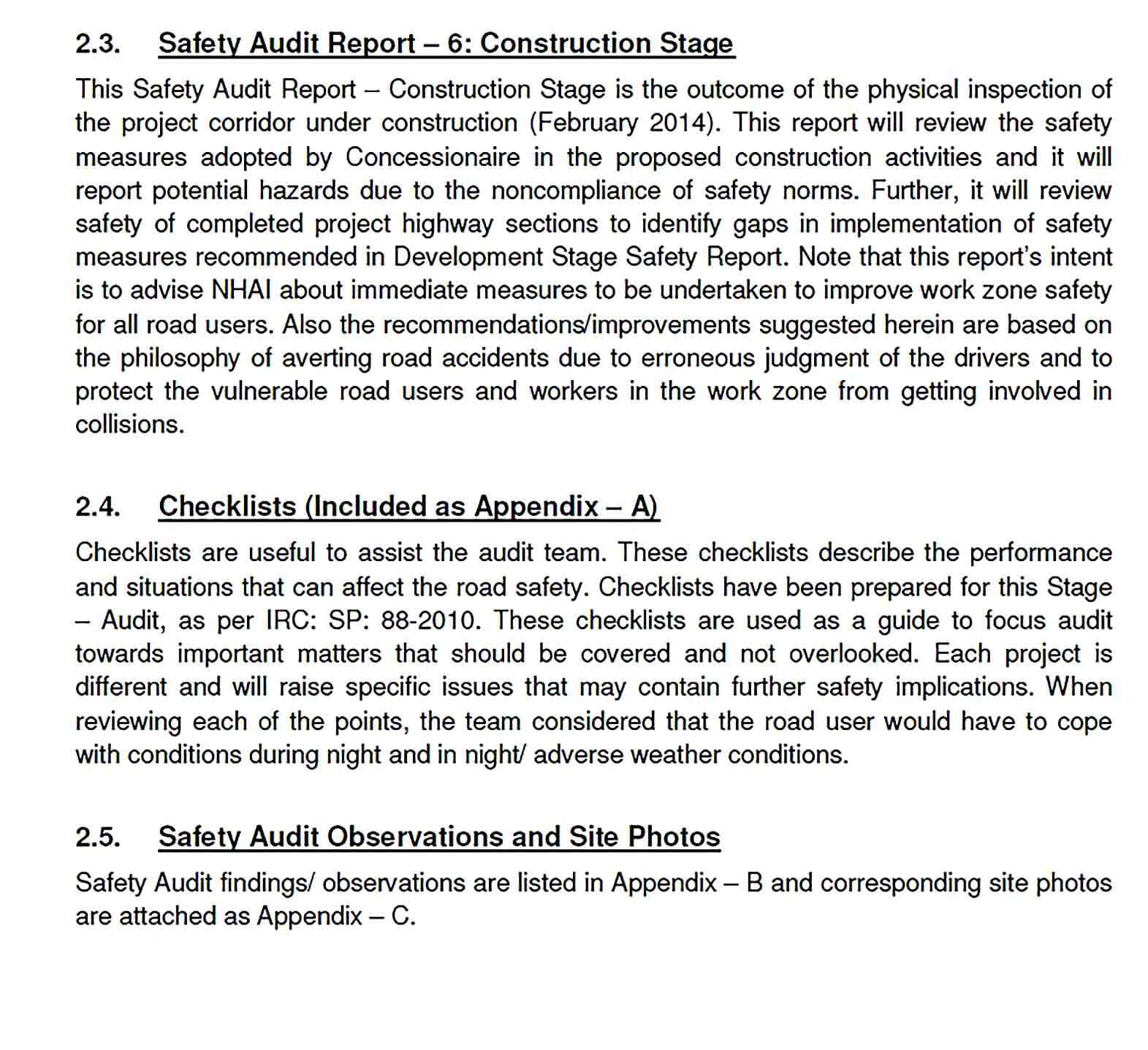 Sample Construction Safety Audit Report Template