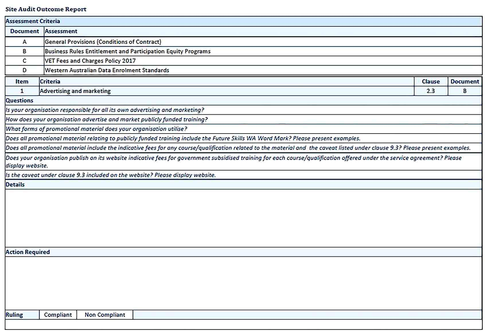 Sample Contract Compliance Audit Report