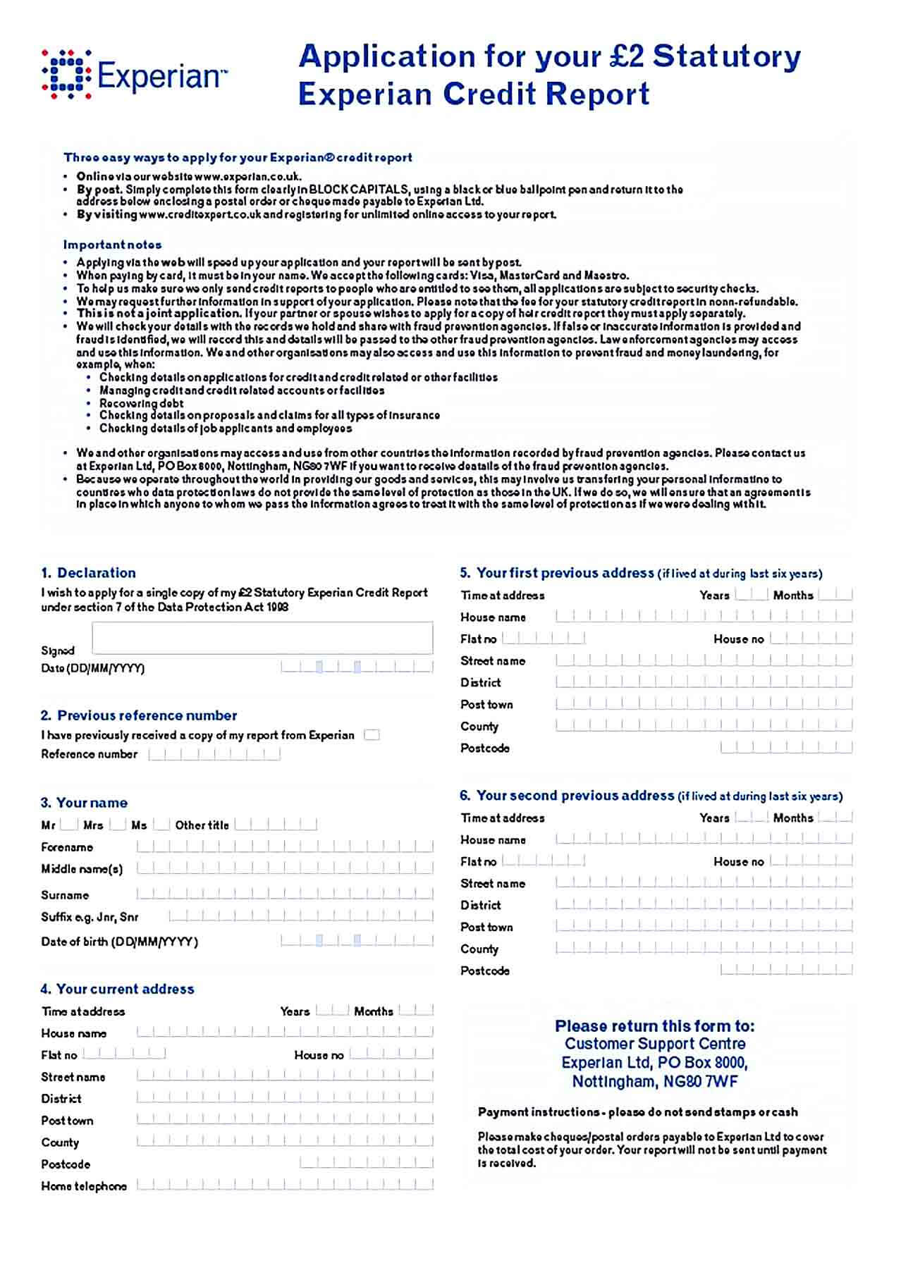 Sample Credit Report Application Form