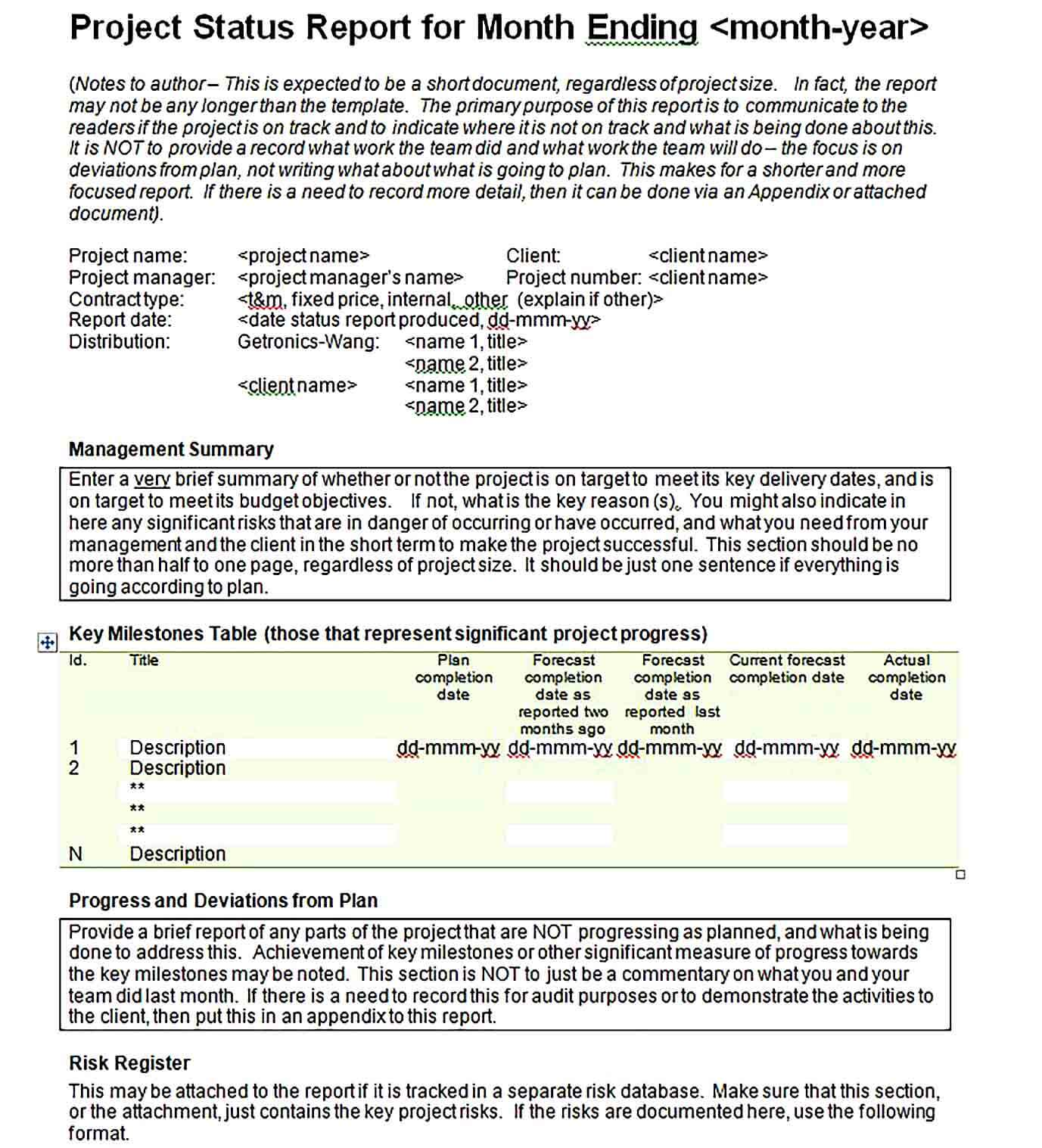 Sample Doc FOrmat Monthly Project Management Report Template