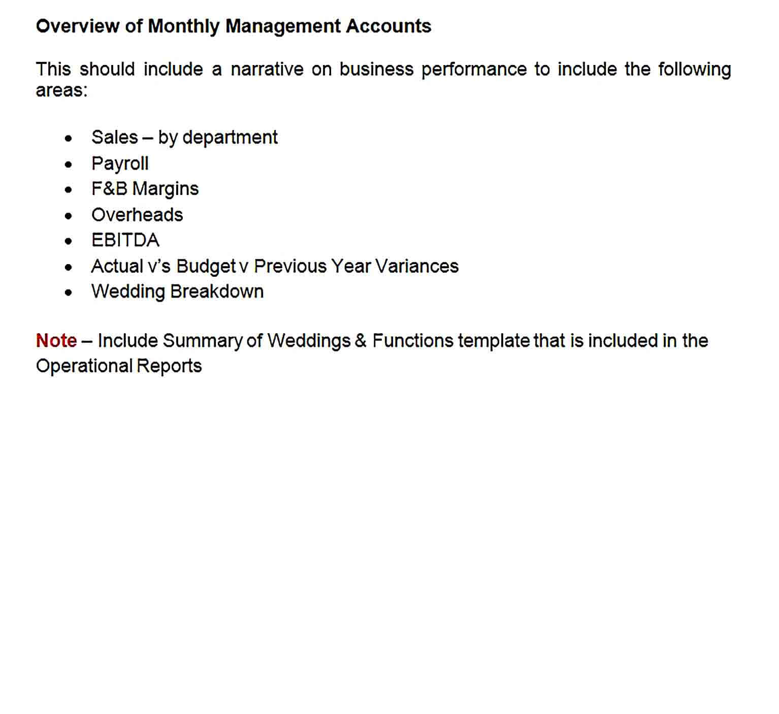 Sample Doc Format Monthly Management Report Template