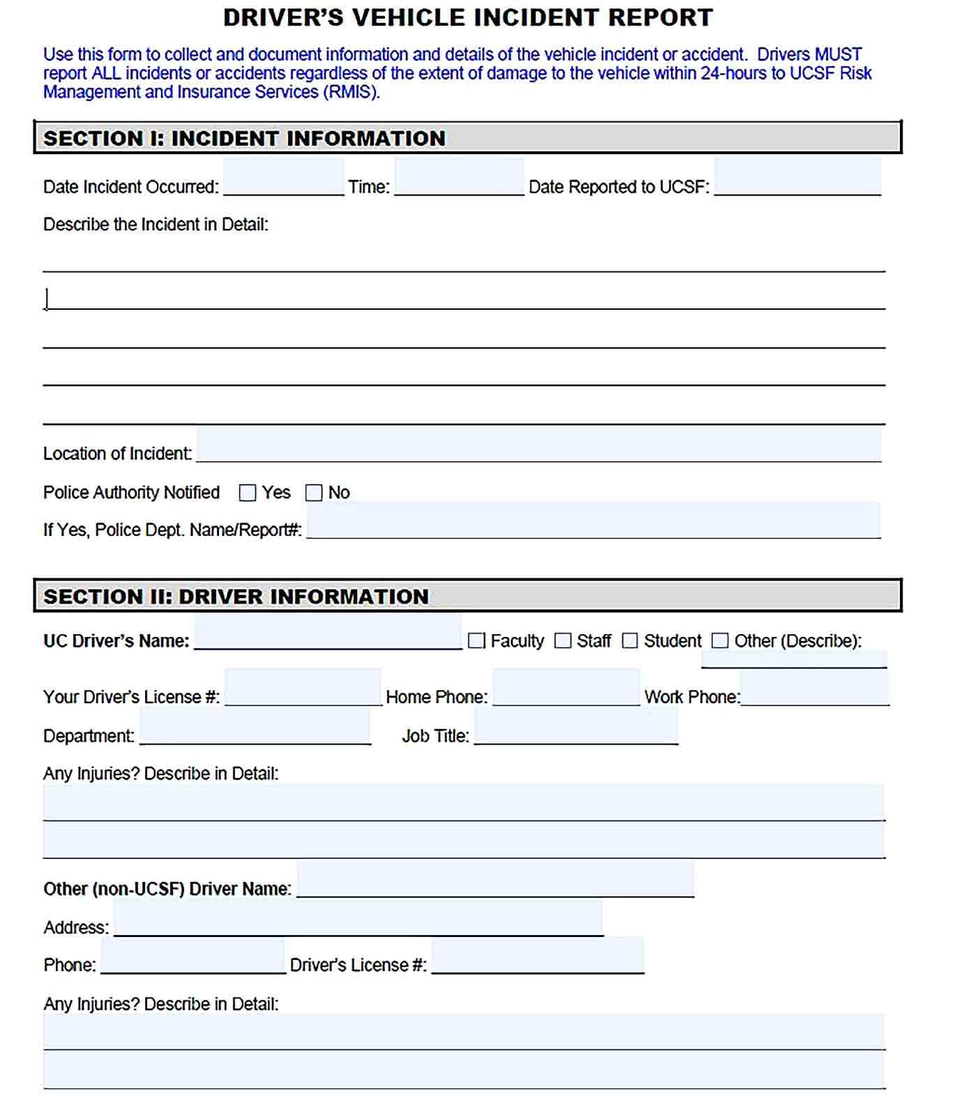 Sample Drivers Vehicle Incident Report Template