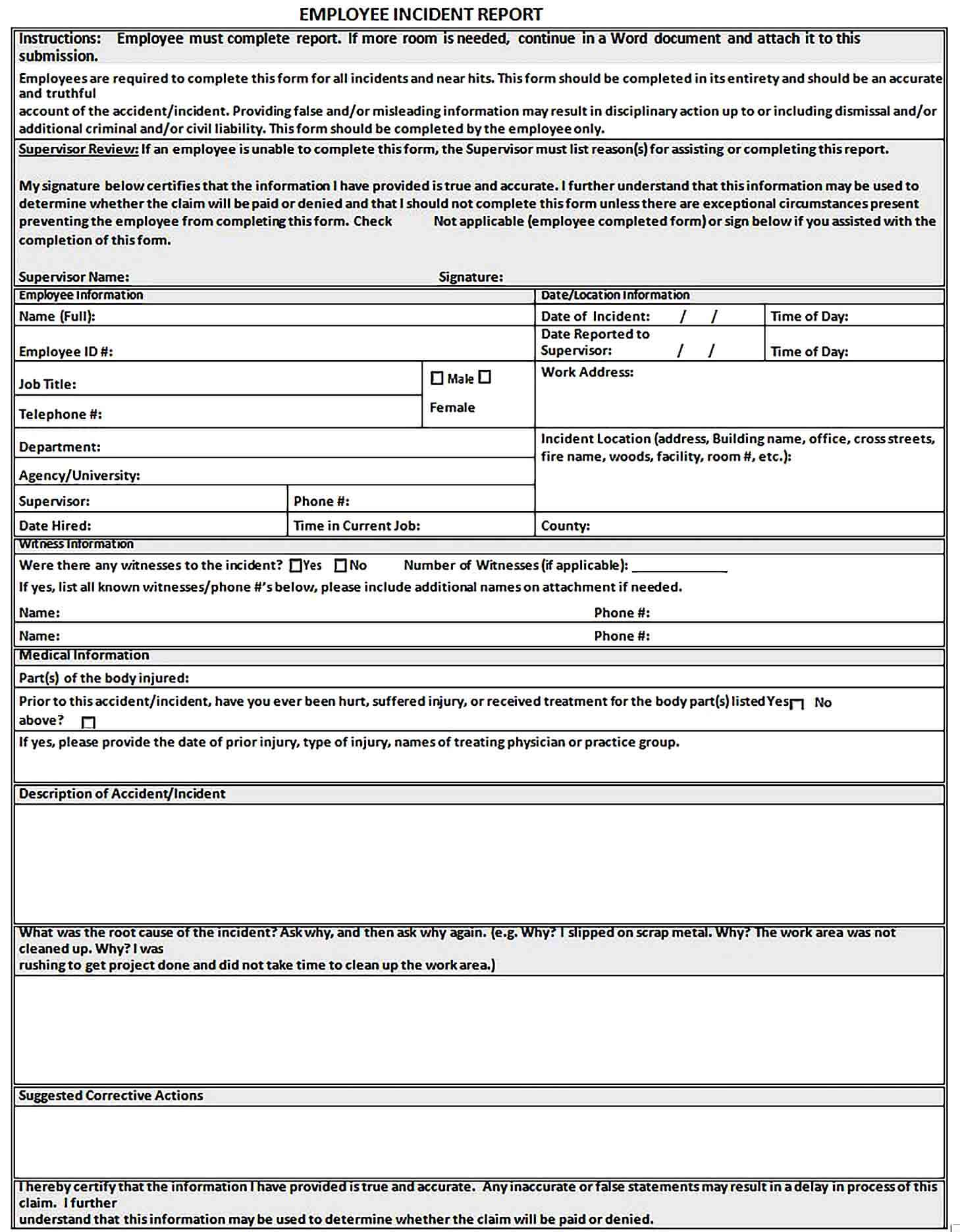 Sample Employee Incident Report Template in PDF