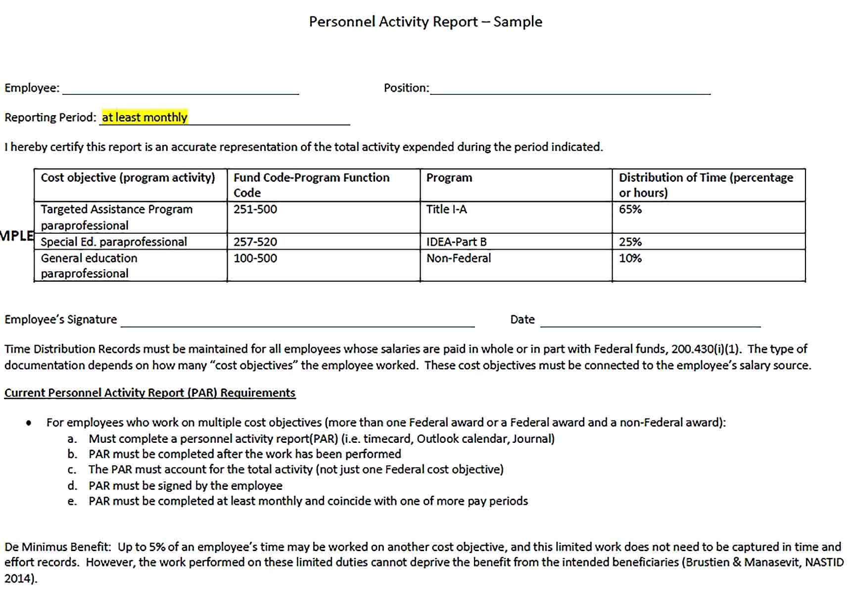 Sample Employee Monthly Activity Report Template