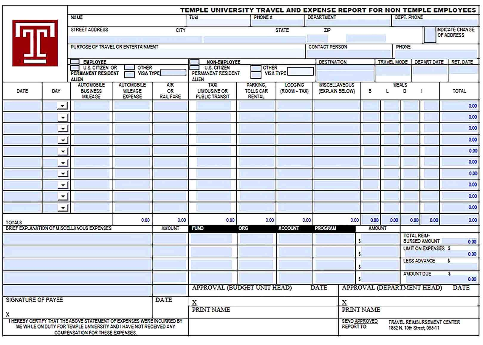 Sample Employee Travel and Expense Report