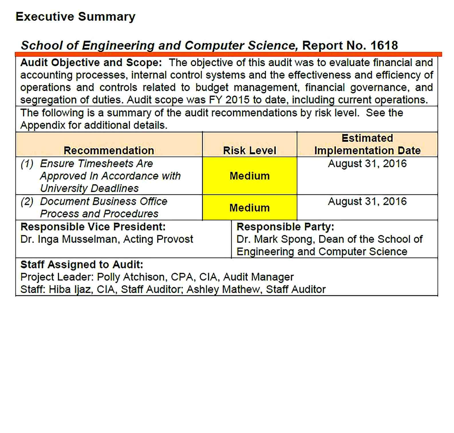 Sample Engineering and Computer Science Report