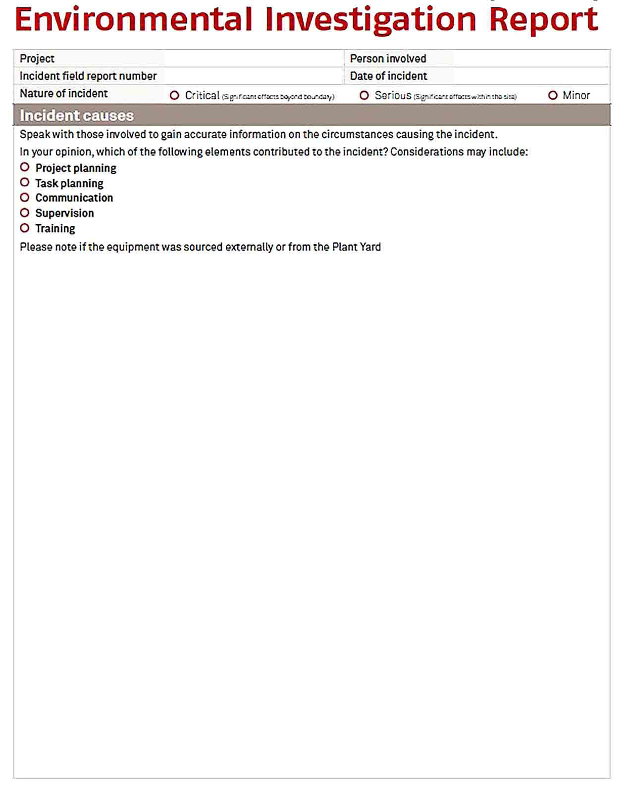 Sample Environment Investigation Report Template