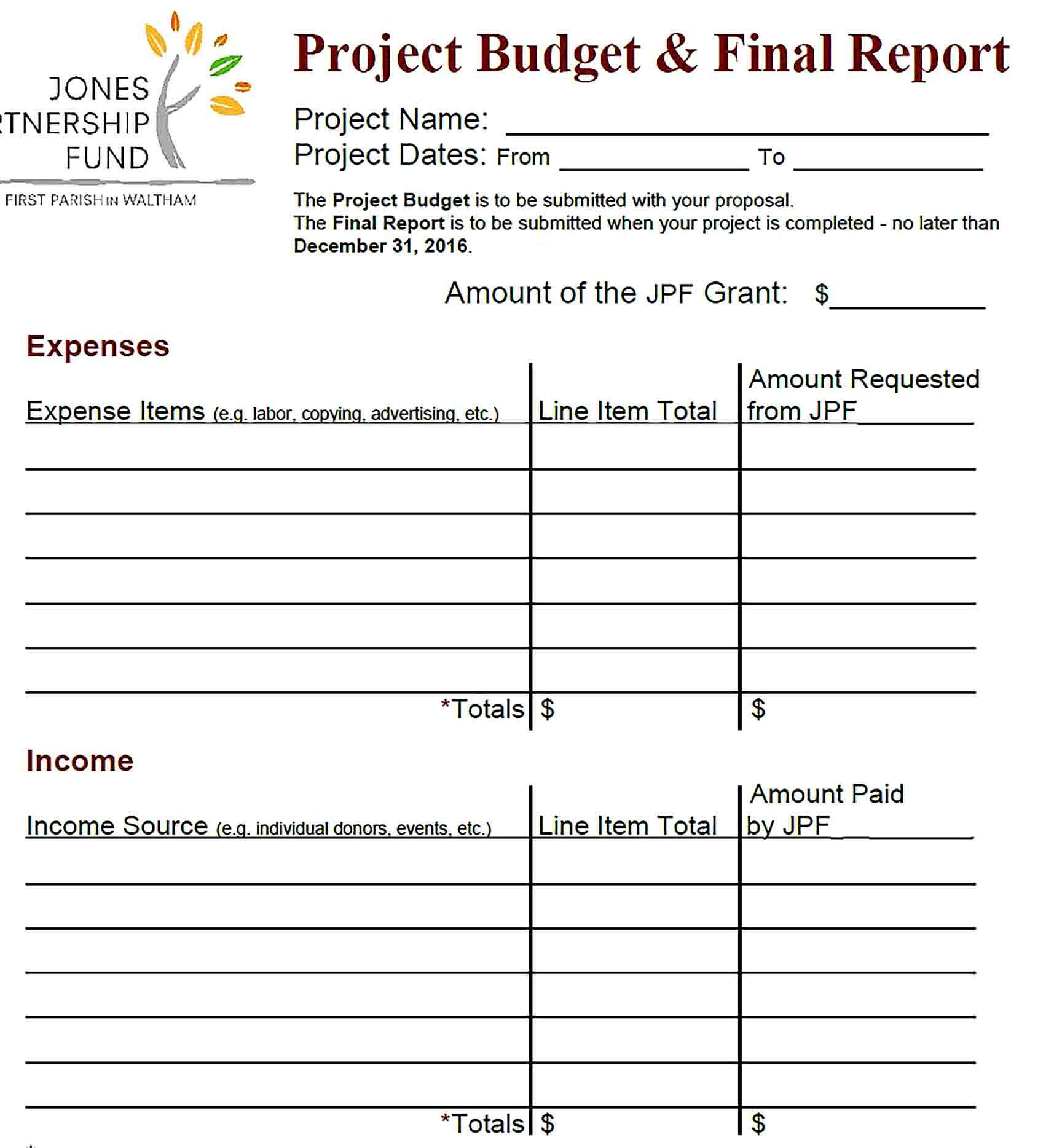 Sample Final Project Budget Report
