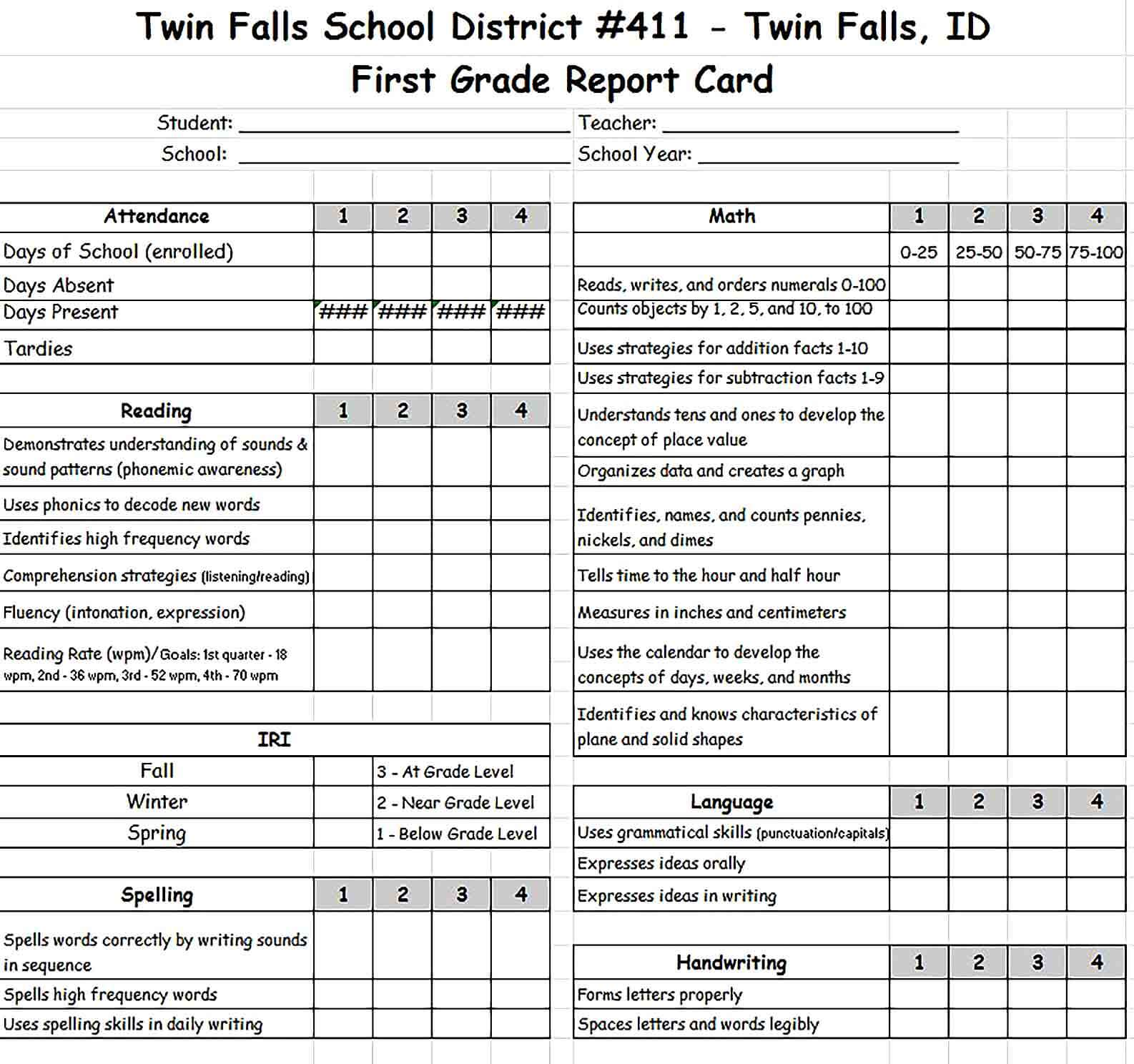 Sample First Grade Report Card Template Excel Format for