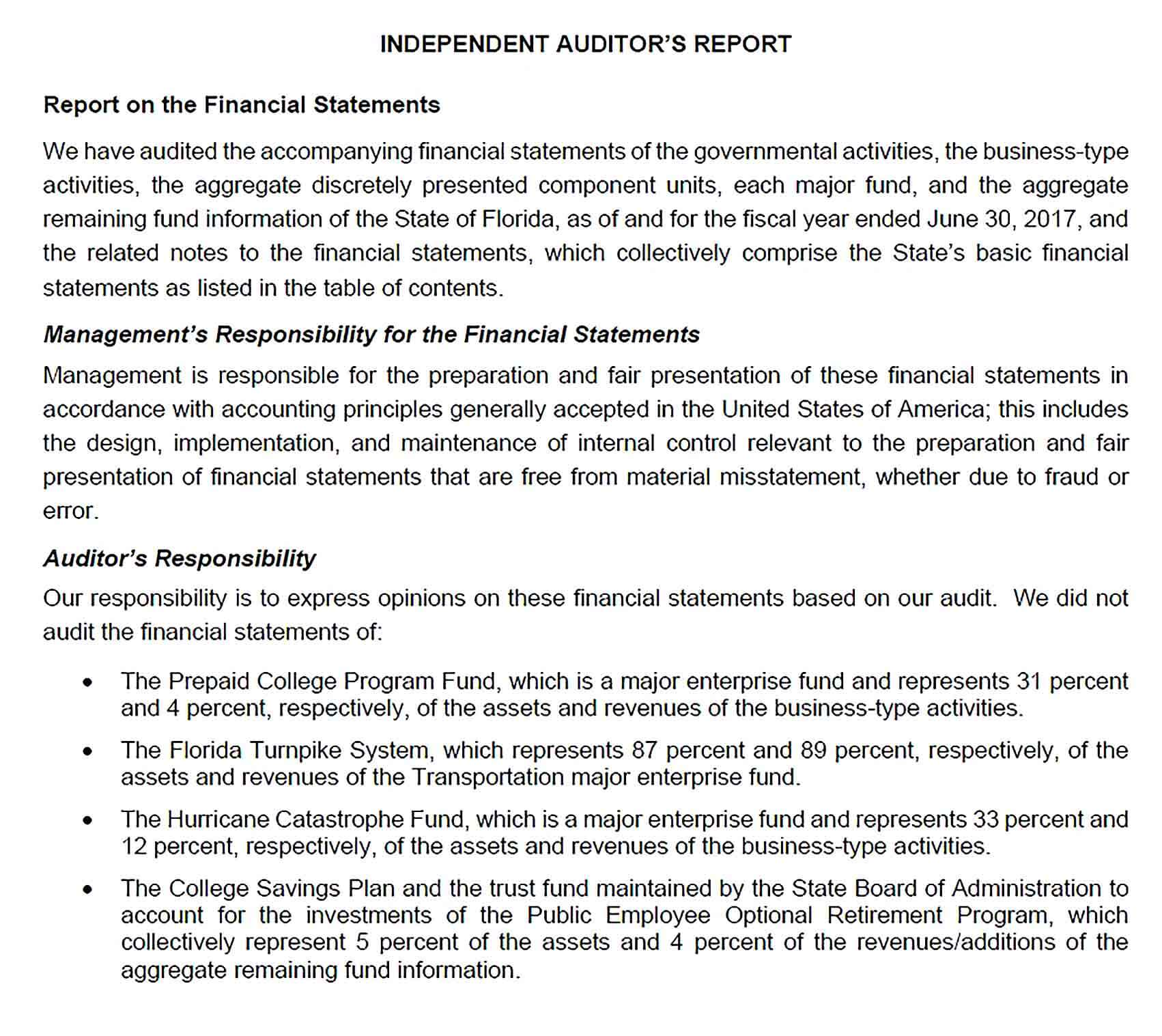 Sample Fiscal Year Comprehensive Annual Financial Reort Template