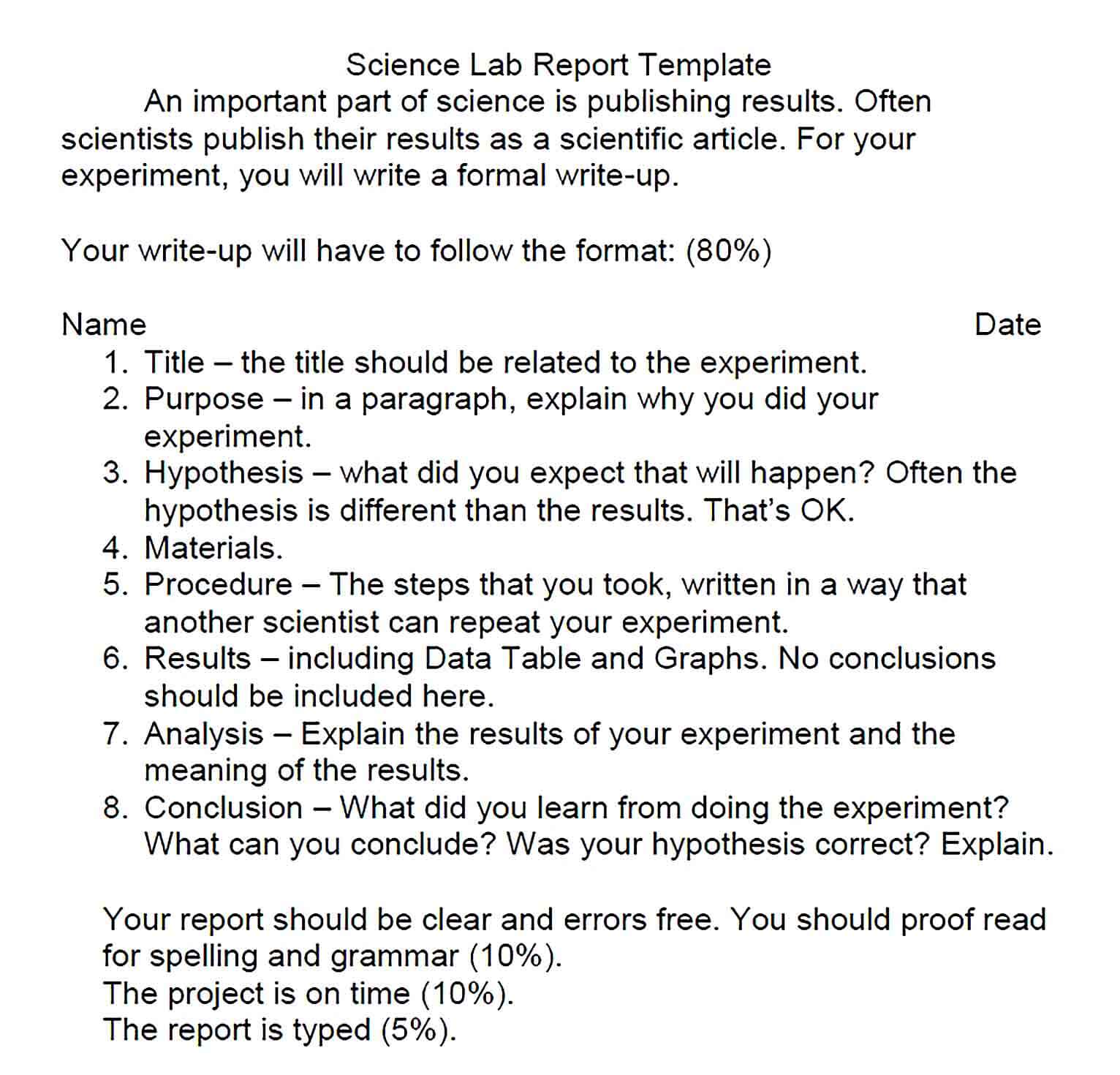 Sample Formal Science Lab Report Template 1