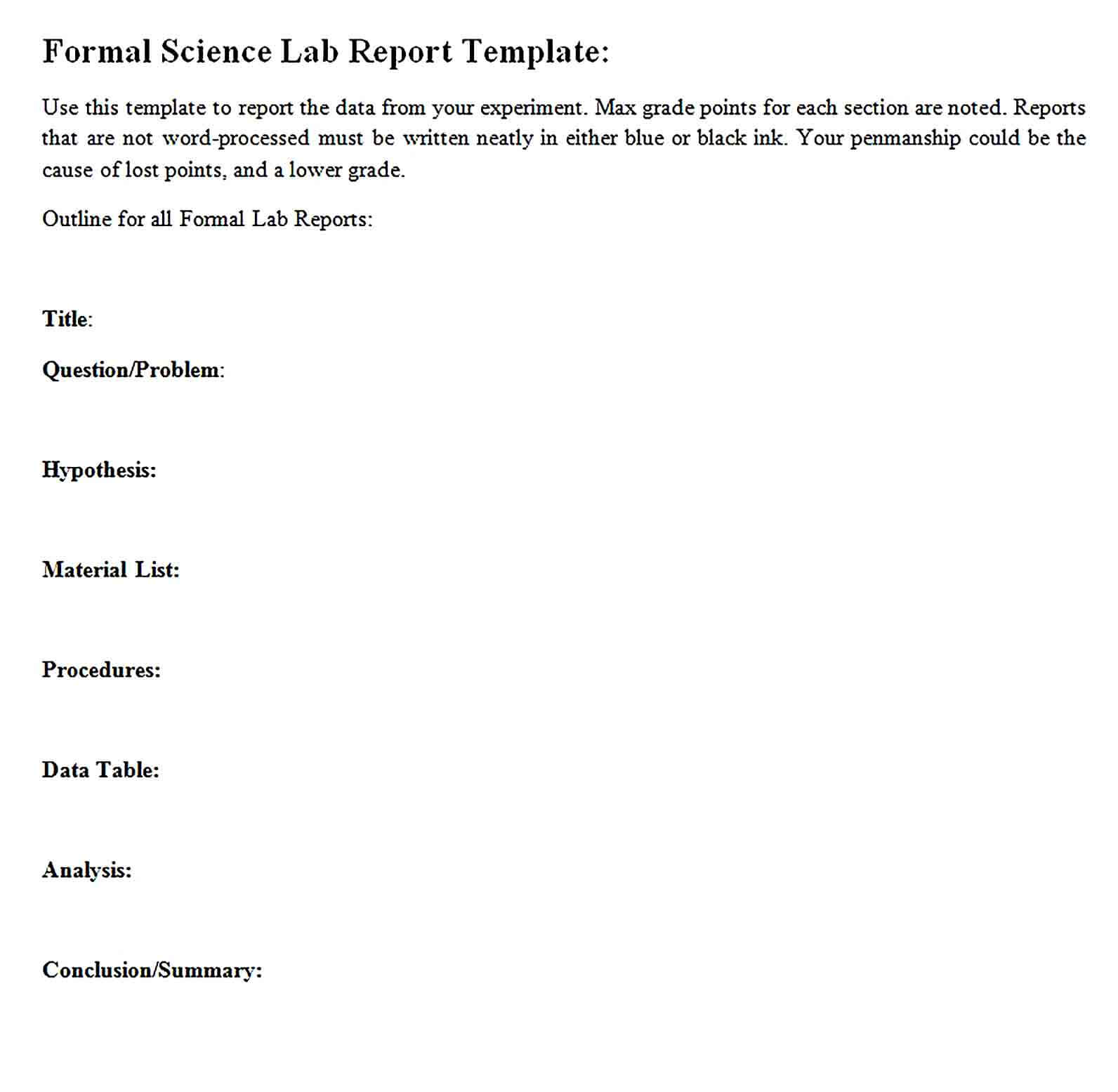 Sample Formal Science Lab Report Template