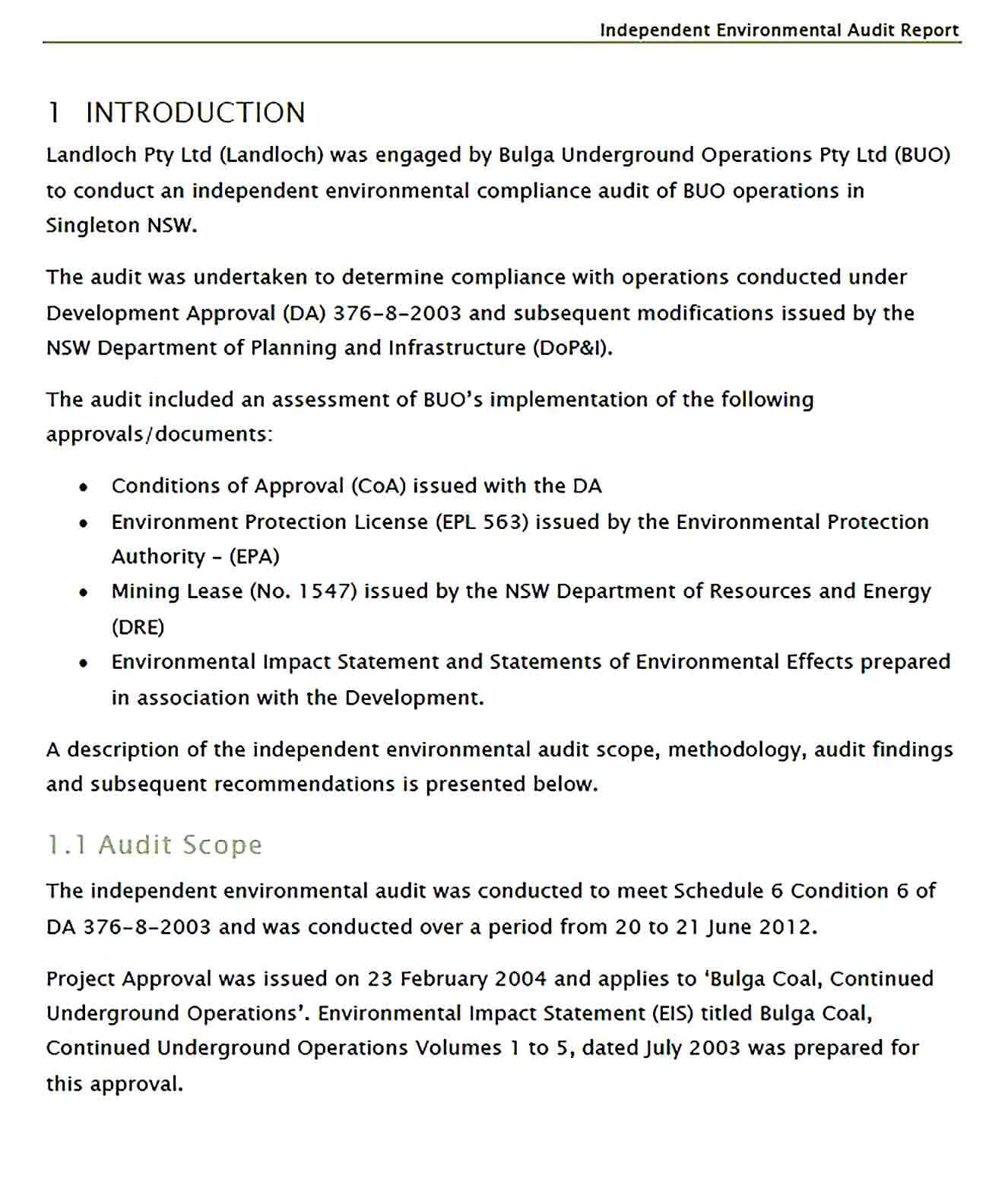 Sample Independent Environmental Audit Report