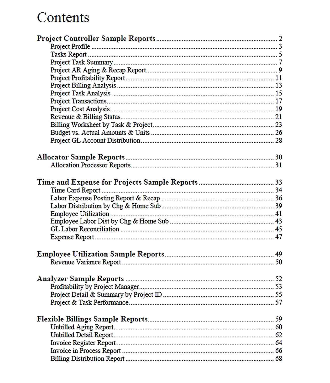 Sample Management Report for Project Accounting