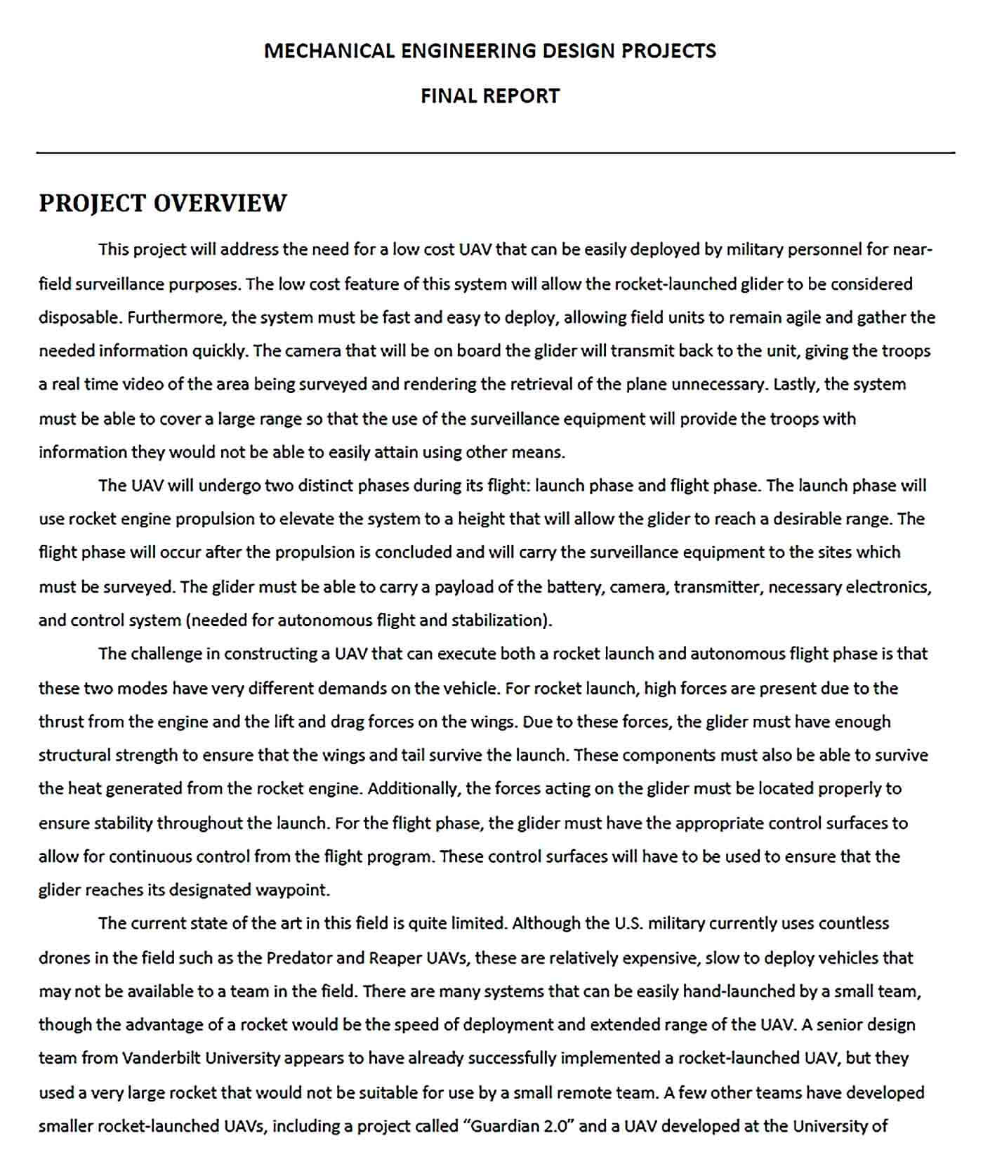 Sample Mechanical Engineering Project Report