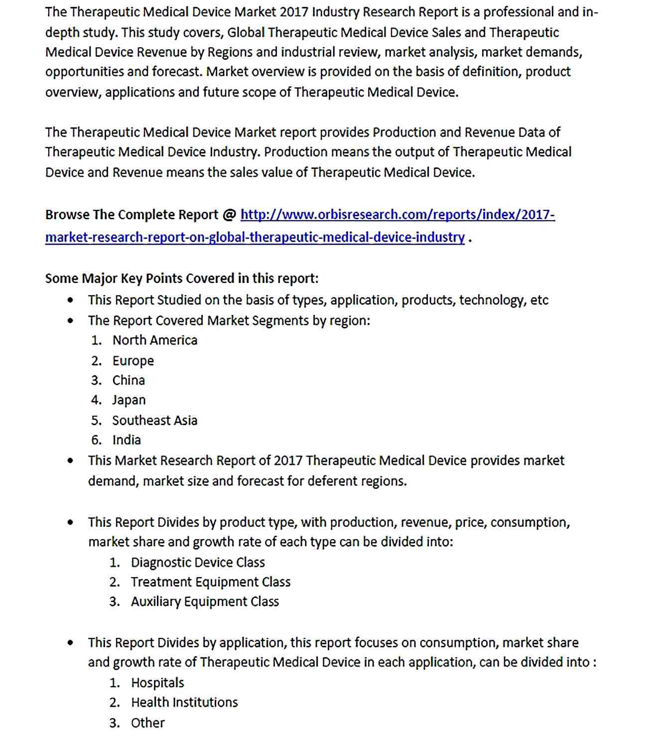 Sample Medical Device Research Report