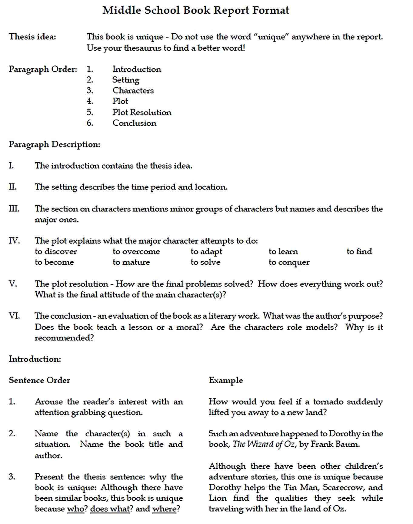 Sample Middle School Book Report Format 1