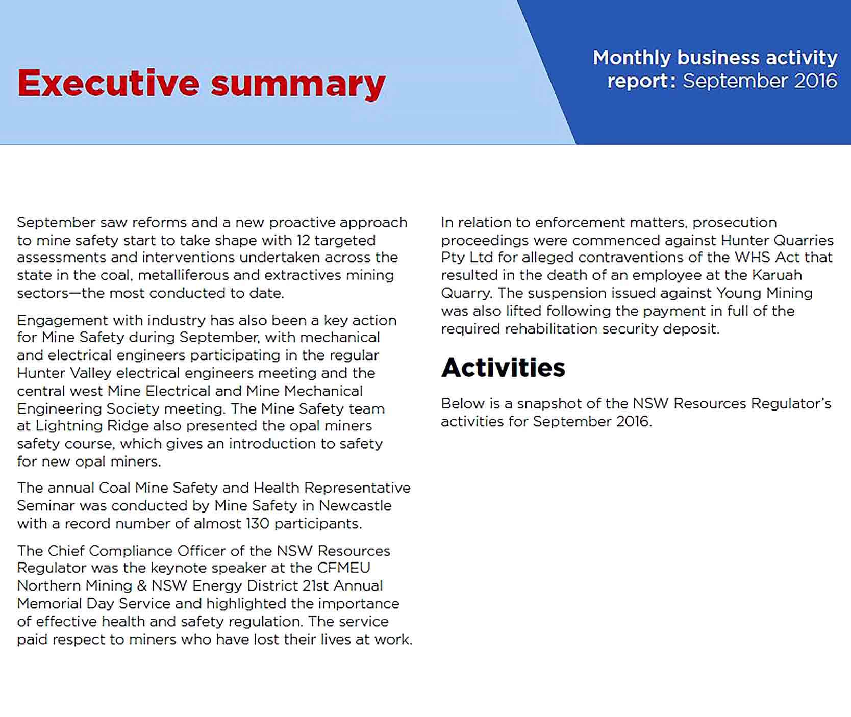 Sample Monthly Business Activity Report Template