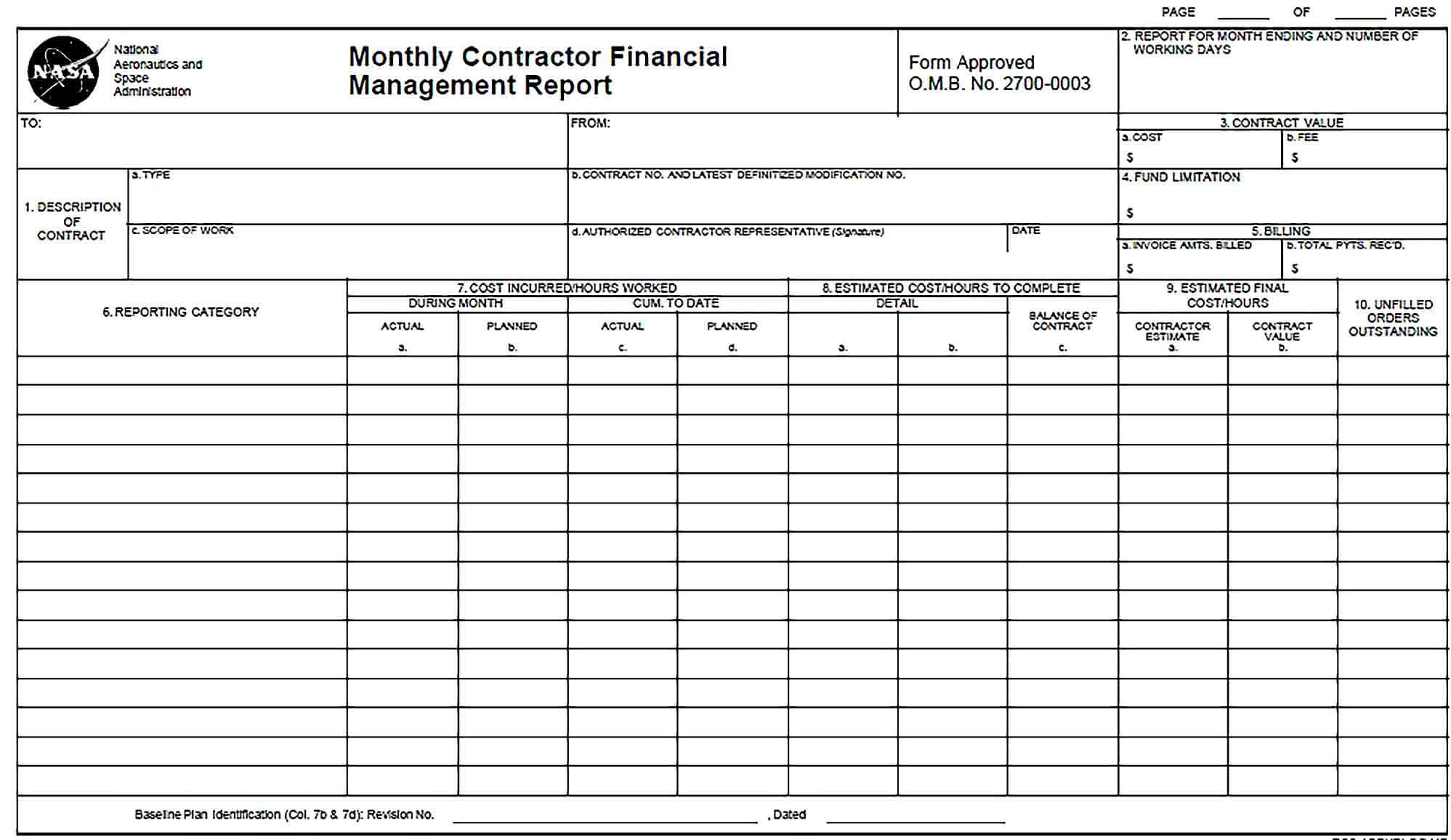 Sample Monthly Contractor Financial Management Report