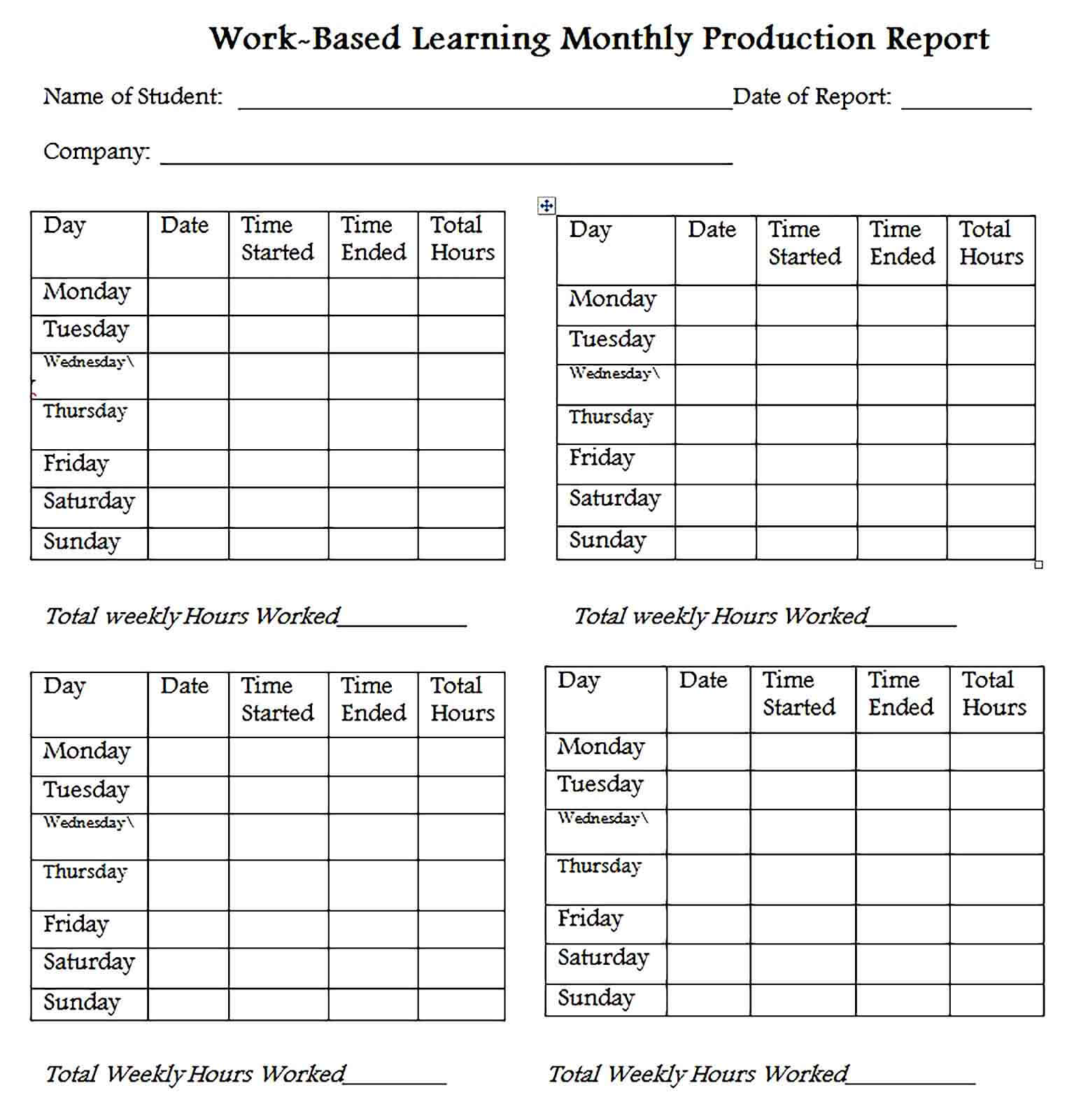 Sample Monthly Production Report Word Template 1