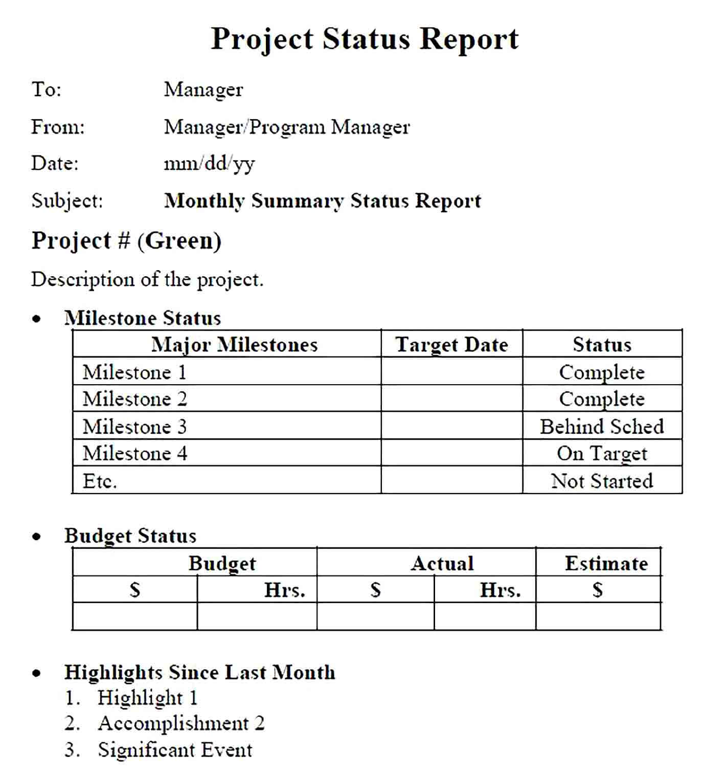 Sample Multiple Project Status Report Example