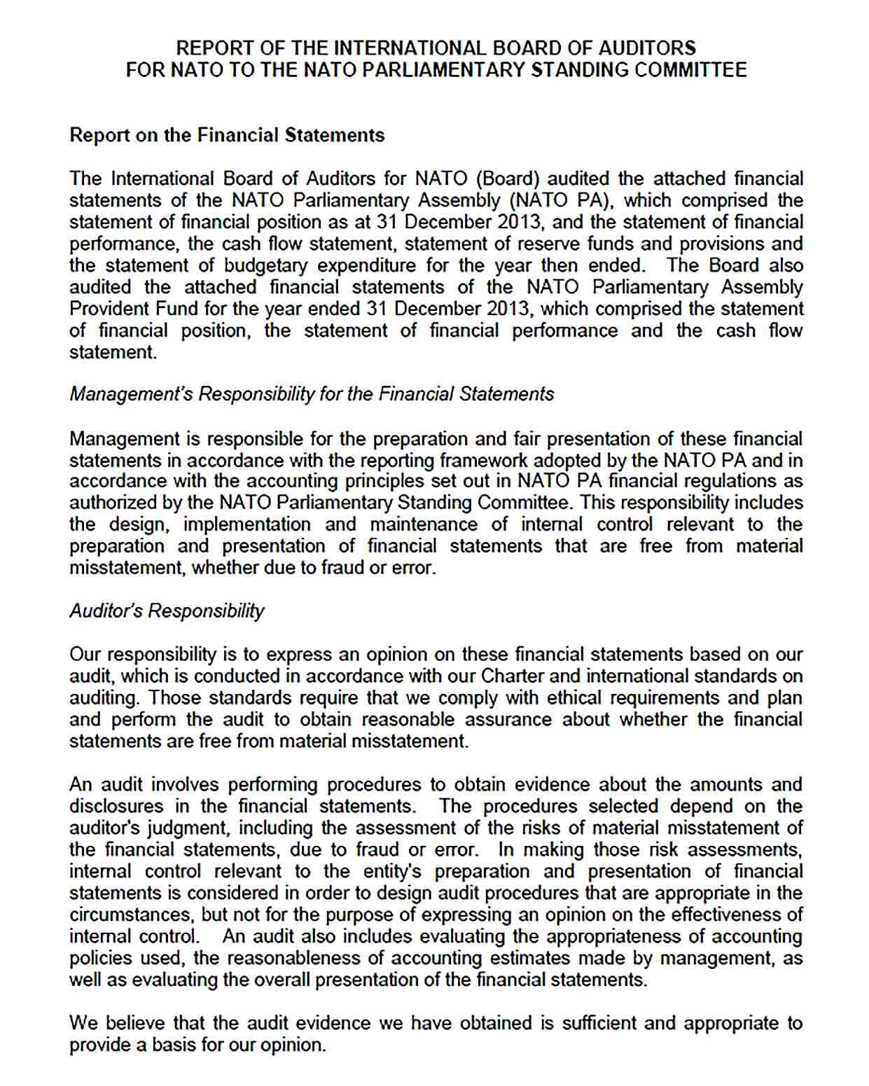 Sample NATO Financial Audit Report Template
