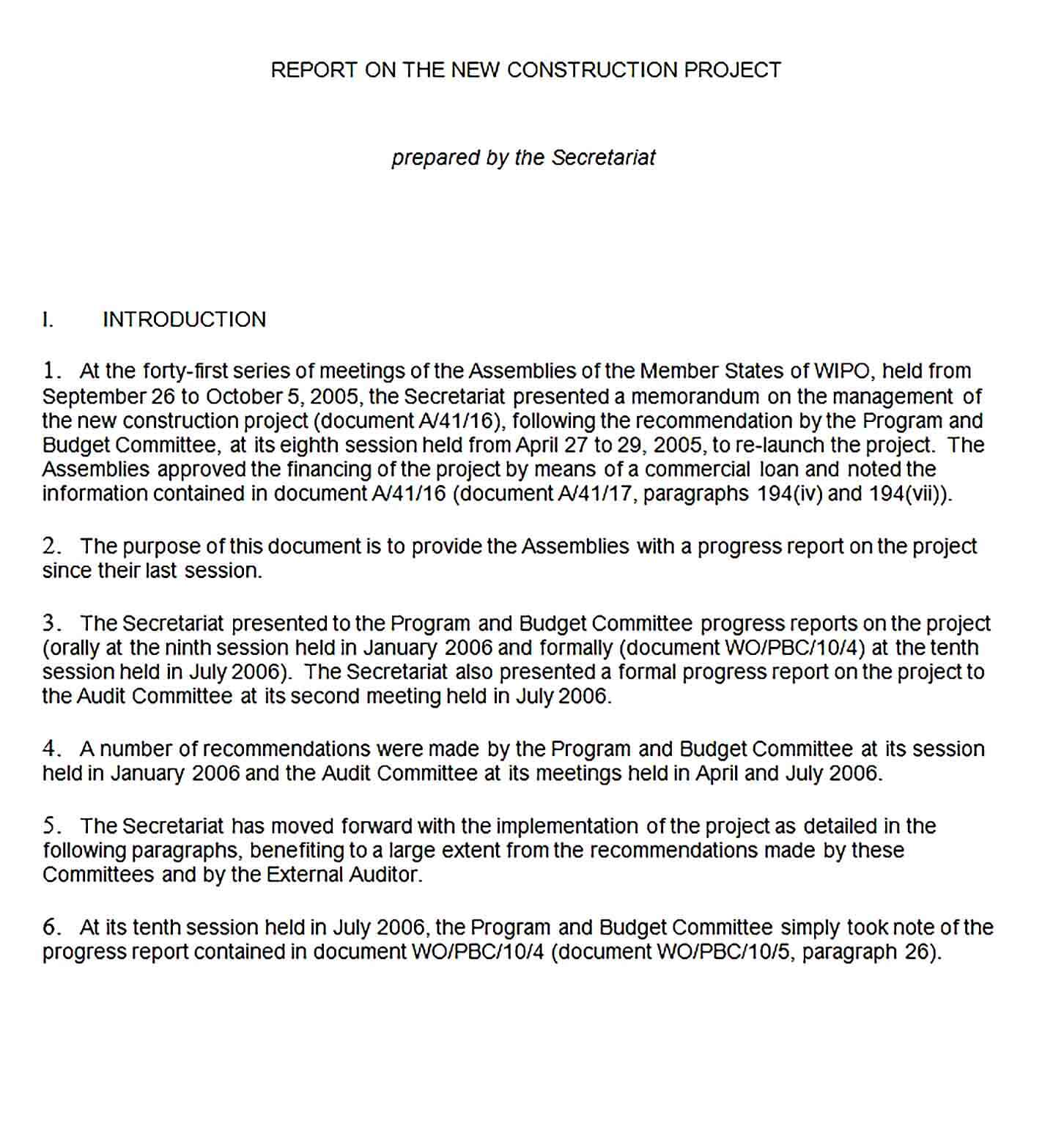 Sample New Construction Project Report Template