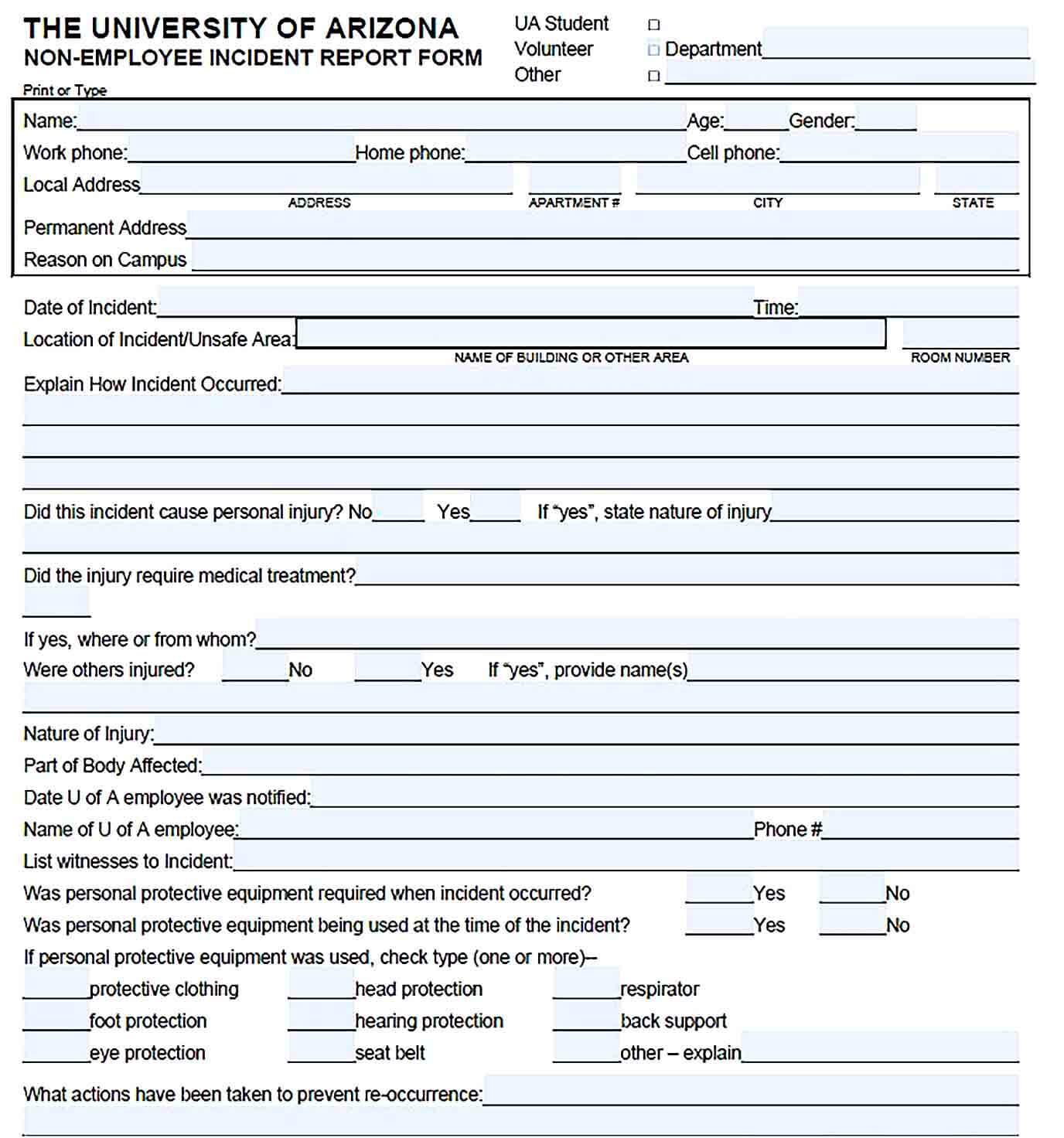 Sample Non Employee Incident Report Form