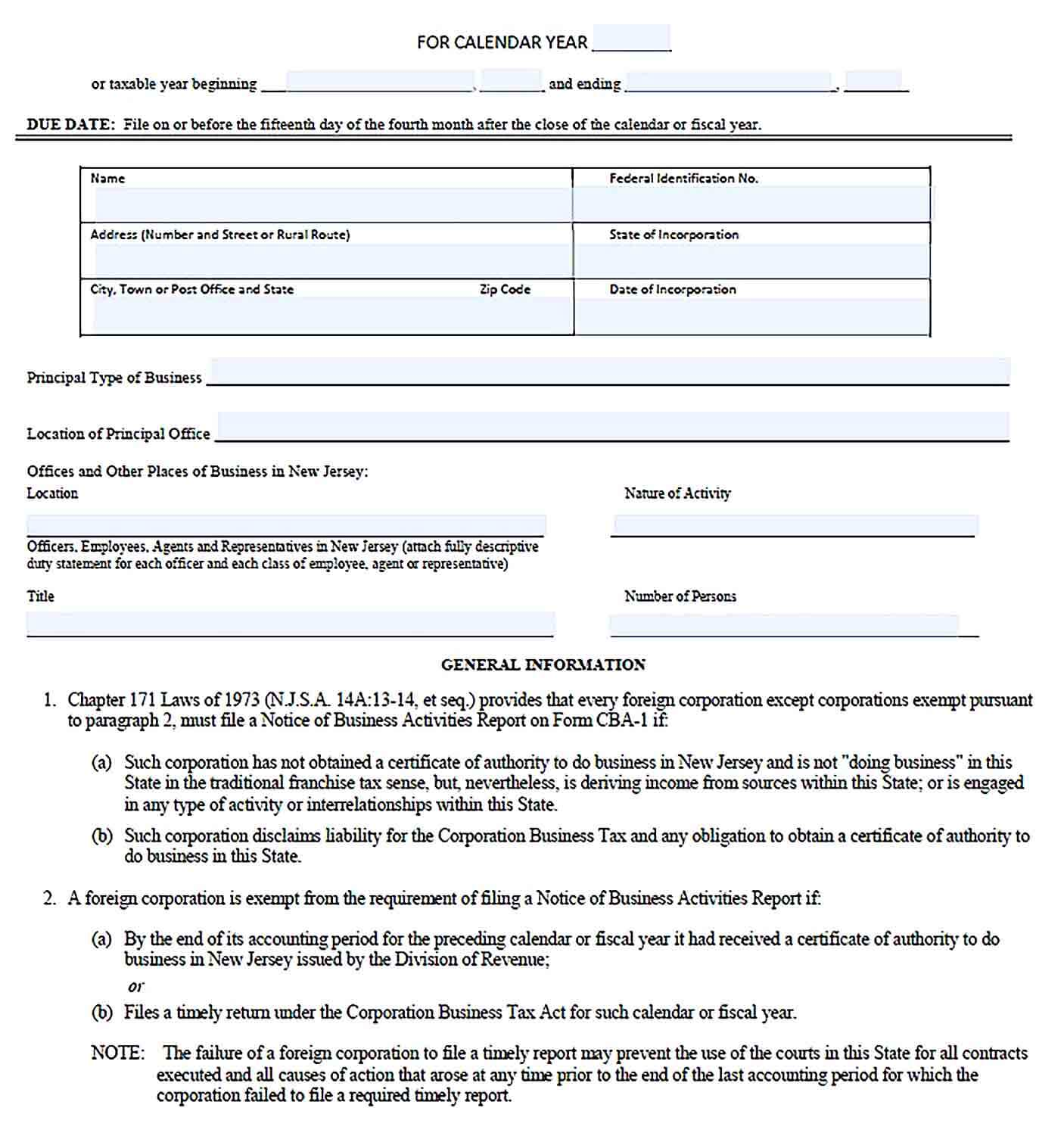 Sample Notice of Business Activity Report Template