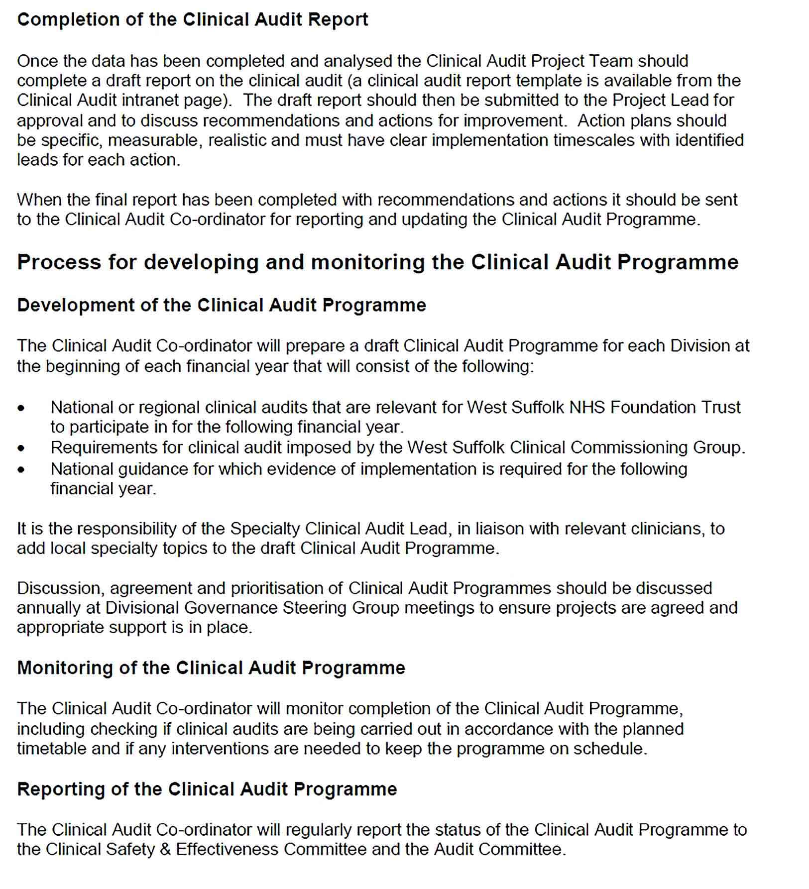 Sample Orthotic Department Clinical Audit Report Template