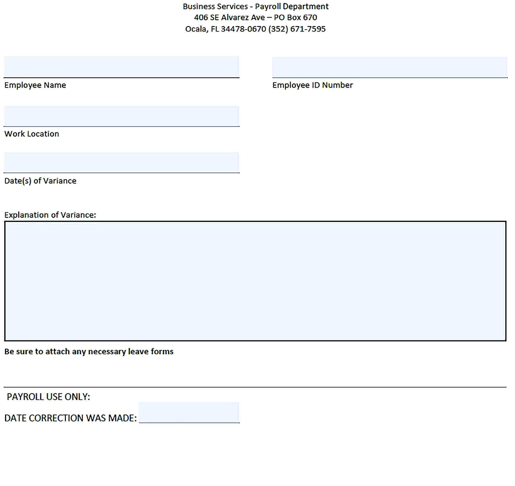 Sample Payroll Exception Report