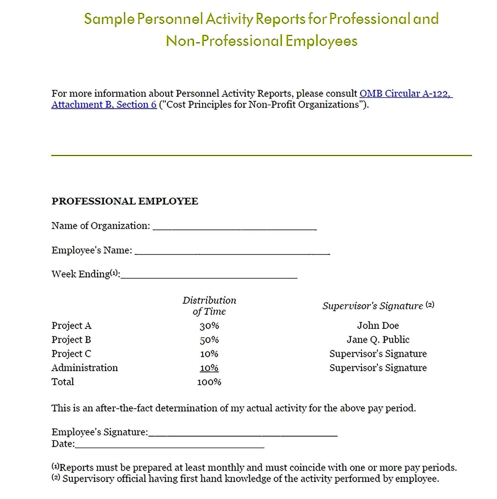 Sample Personnel Activity Report