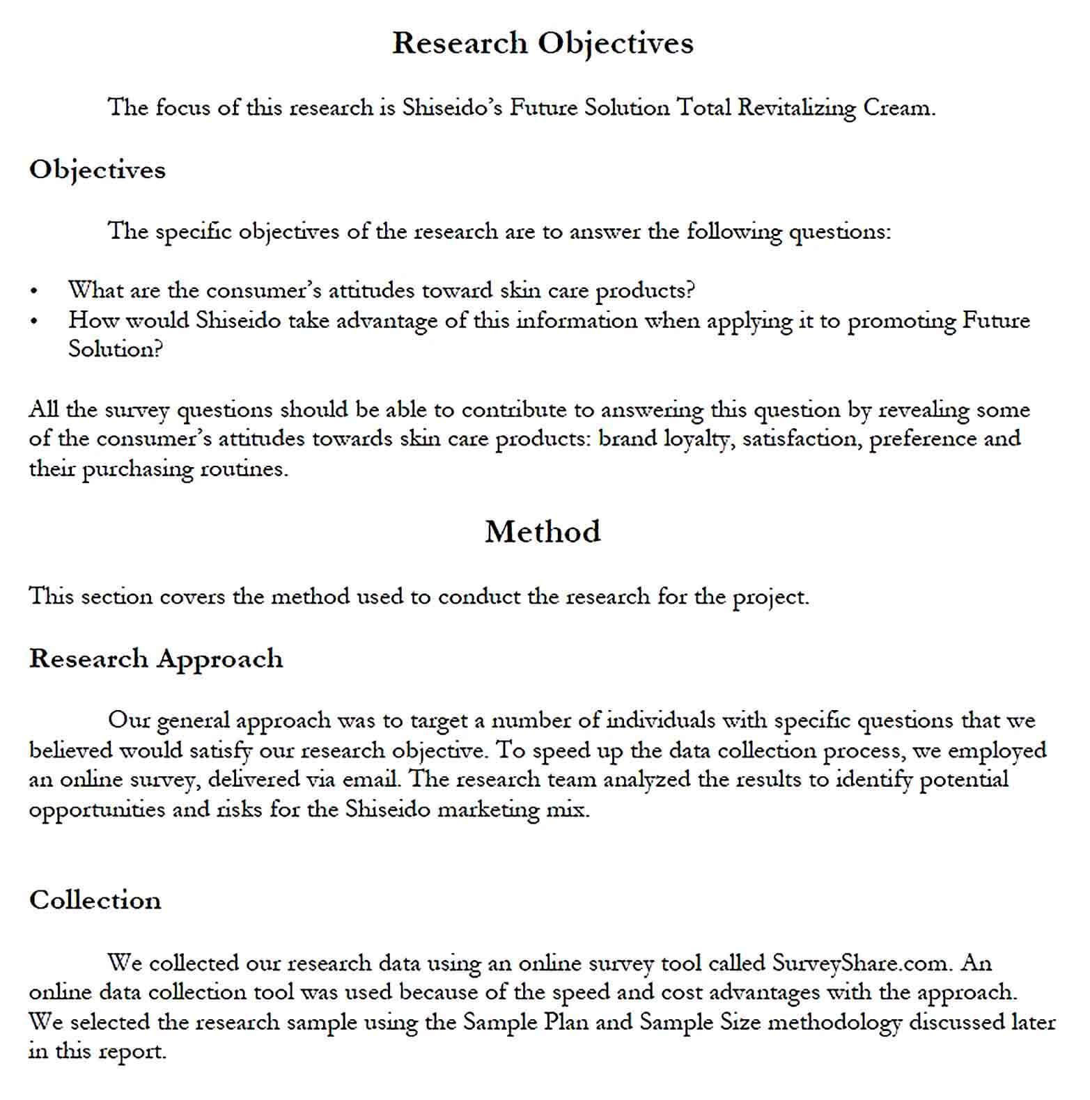 Sample Product Marketing Research