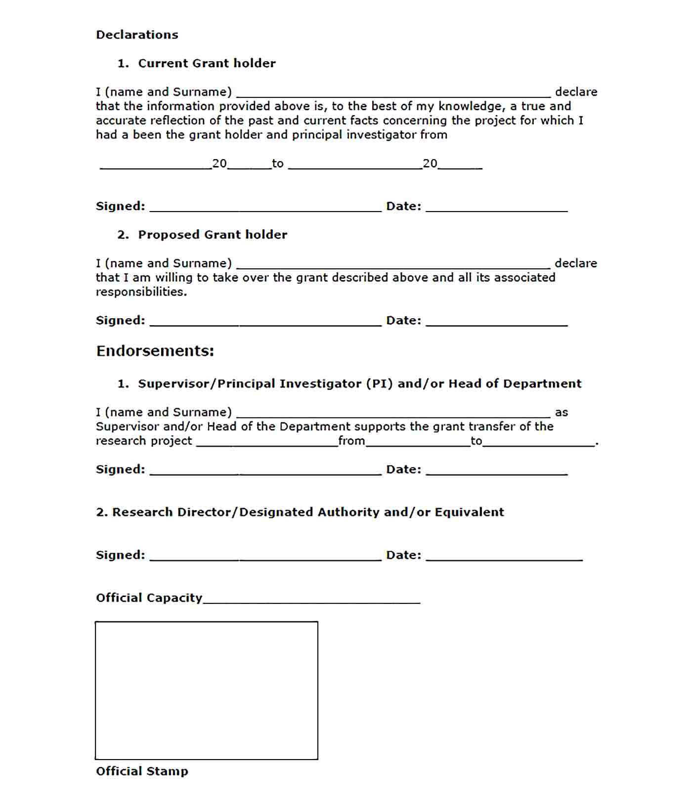 Sample Project Handover Report Template