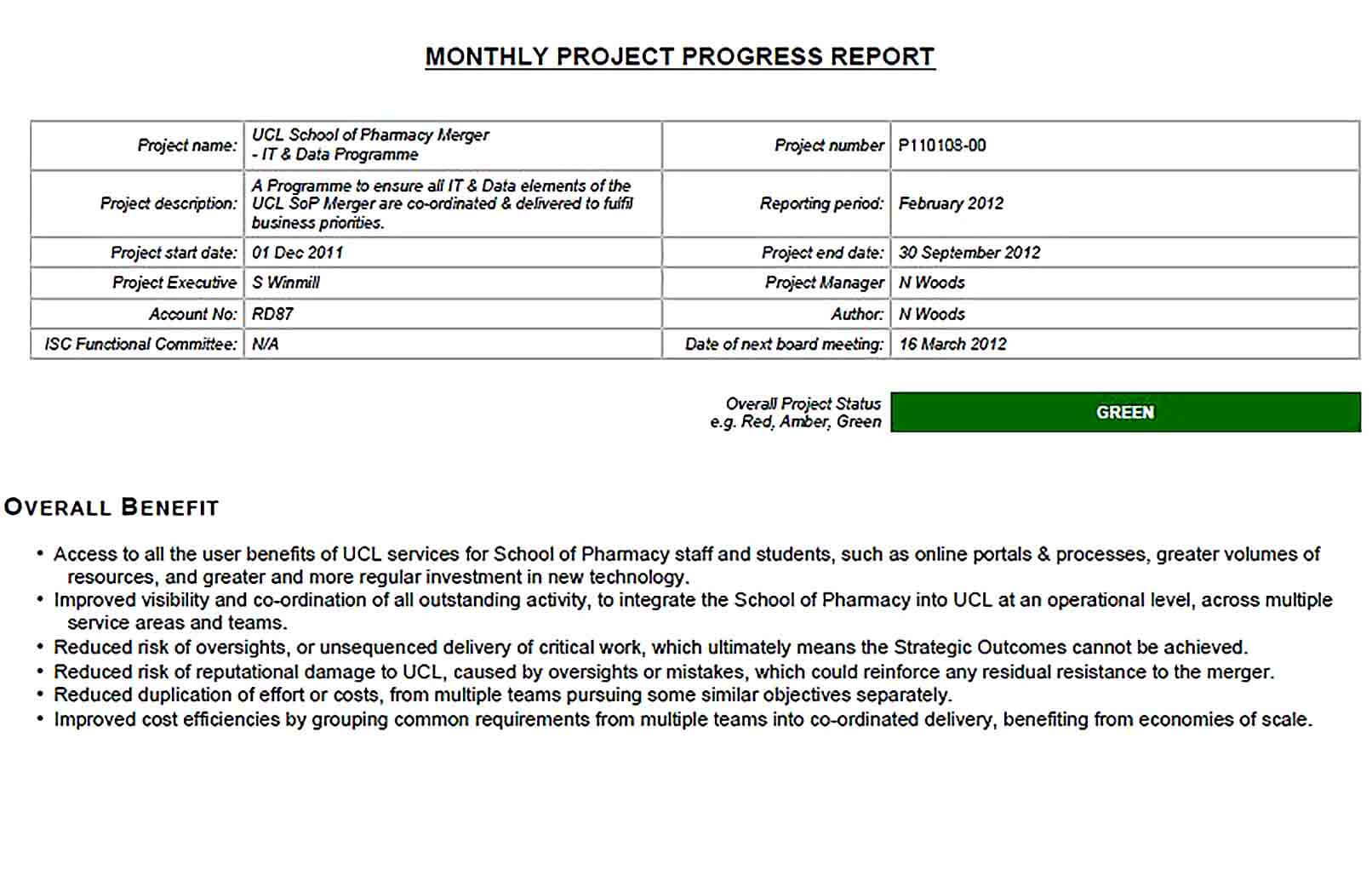 Sample Project Monthly Progress Report