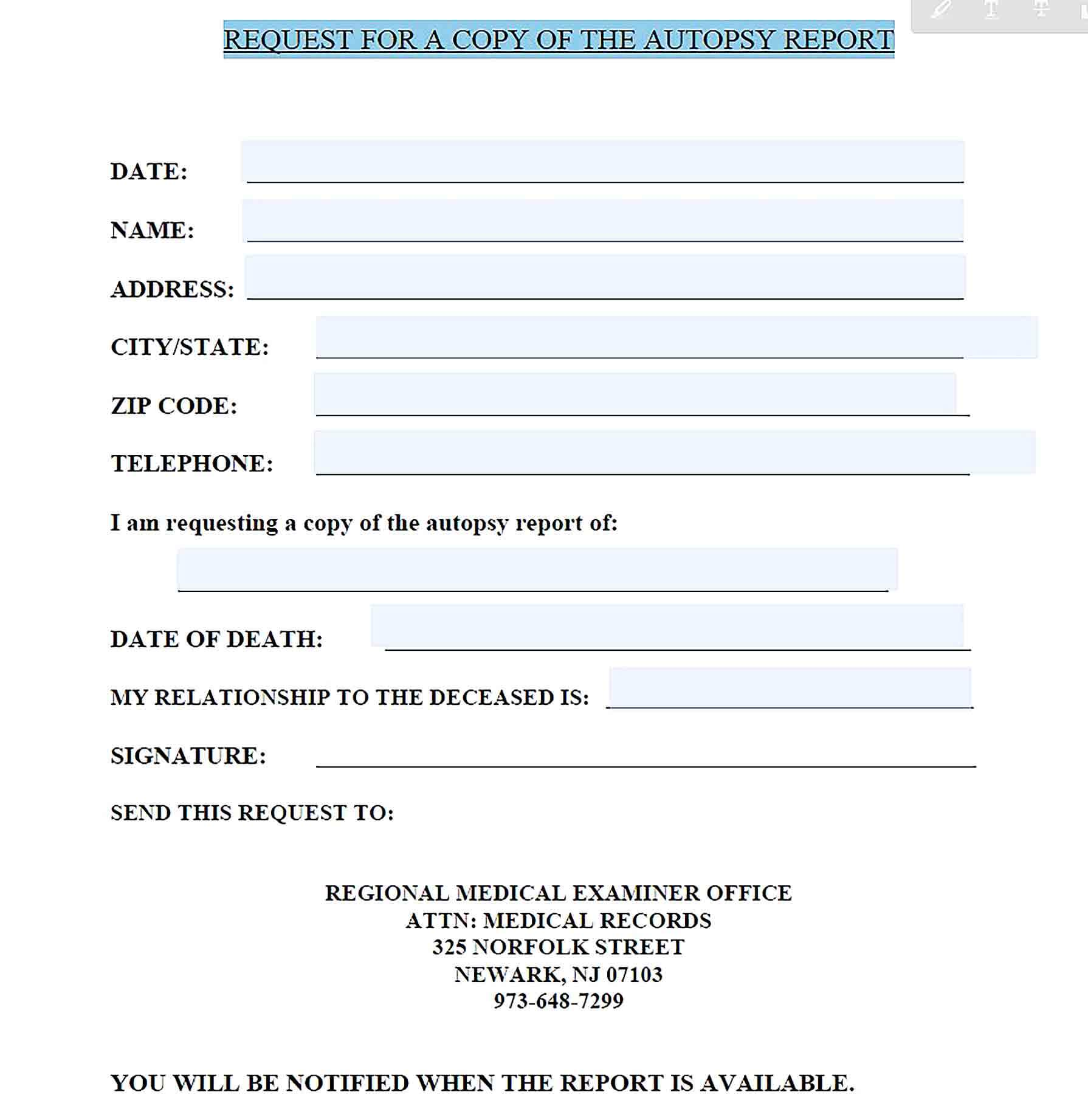 Sample Request for Autopsy Report Template