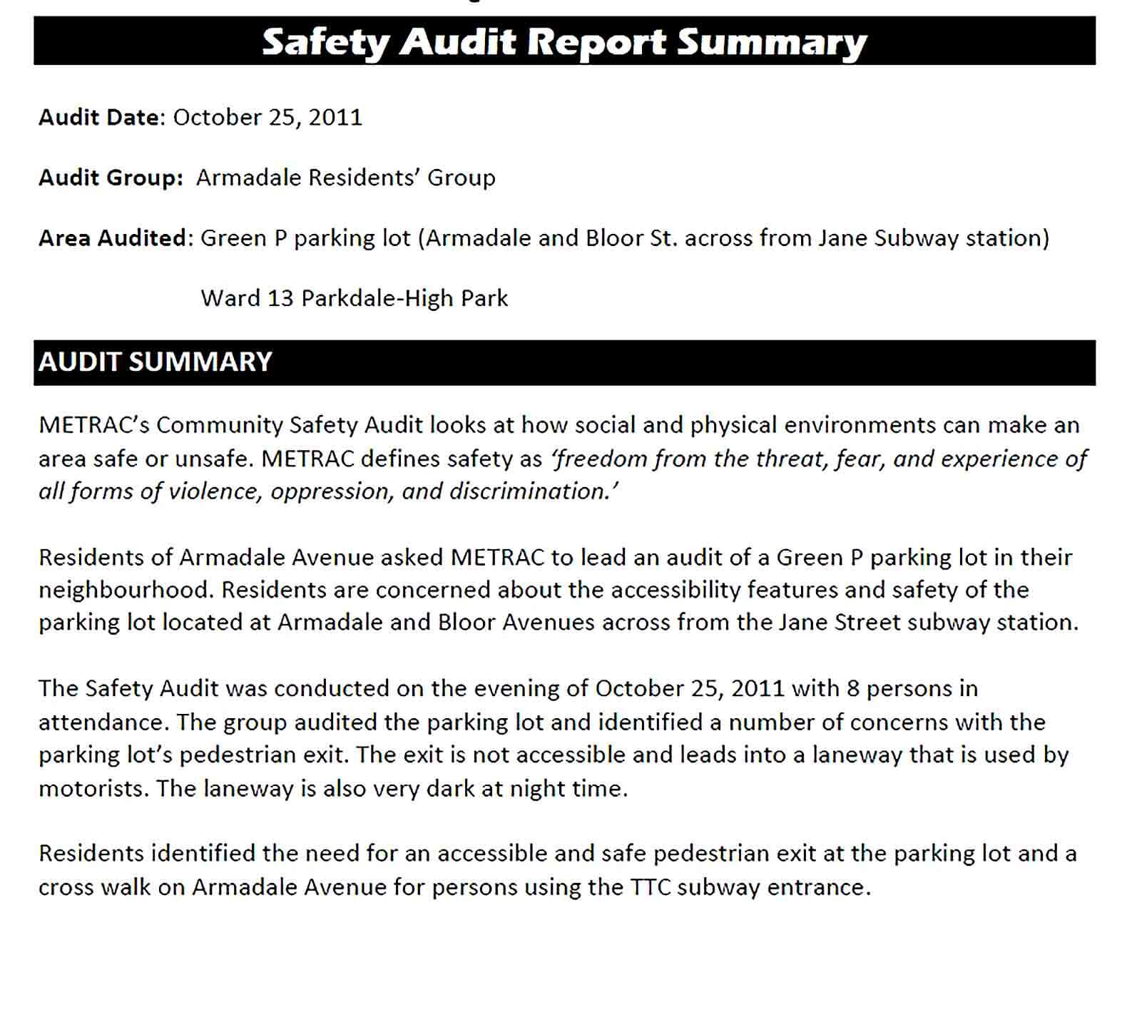 Sample Safety Audit Summary Report Template