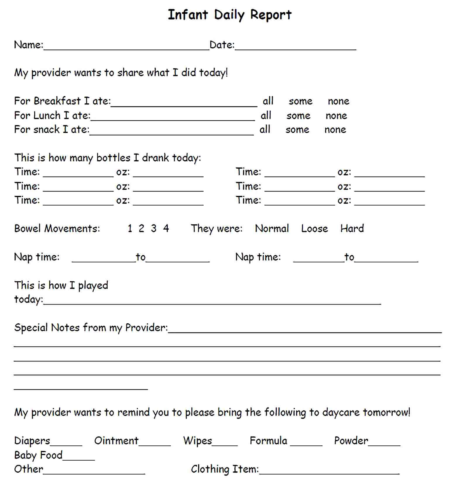 Sample Sample Infant Daily Report Template