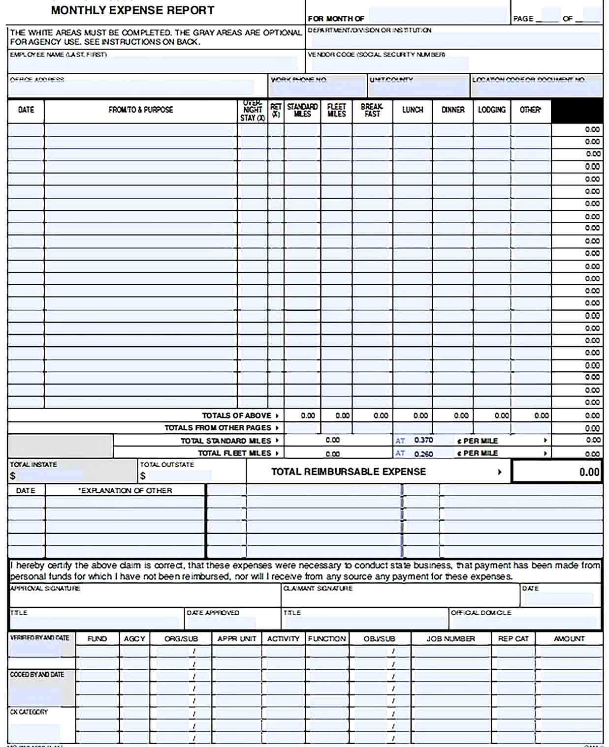 Sample Sample Monthly Expense Report