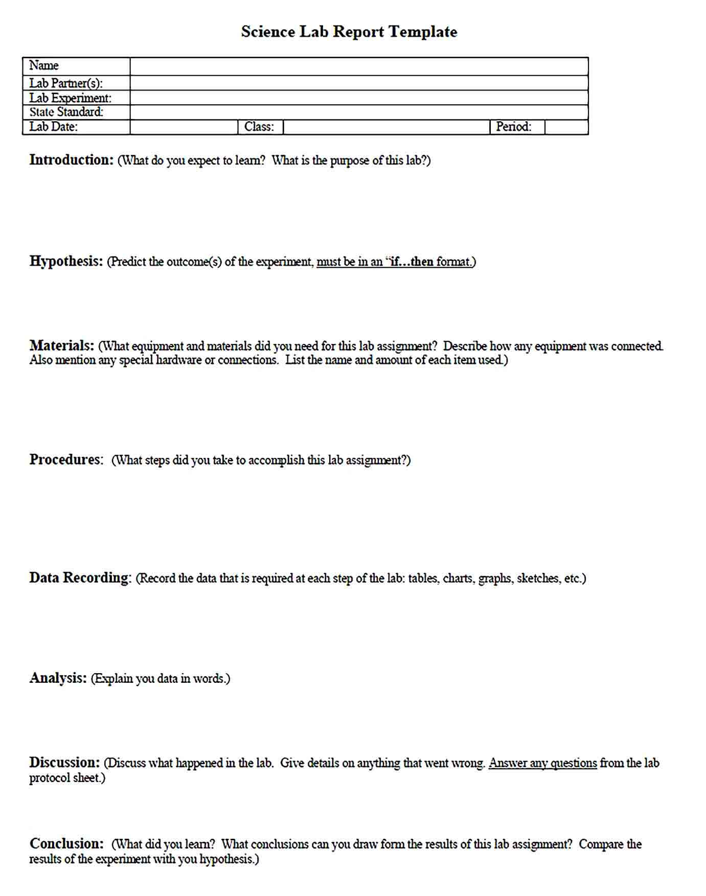 Sample Science Lab Report Template