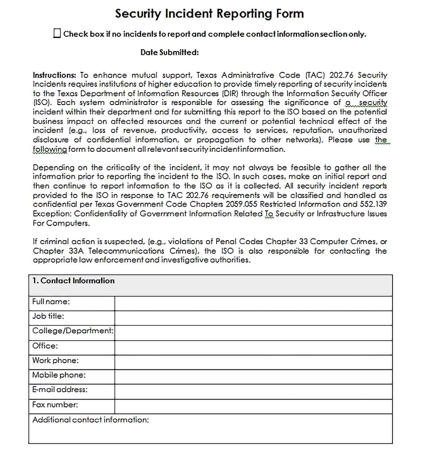 Sample Security Incident Reporting Form