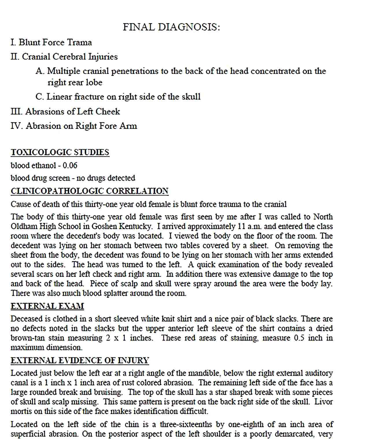 Sample Simple Autopsy Report Template