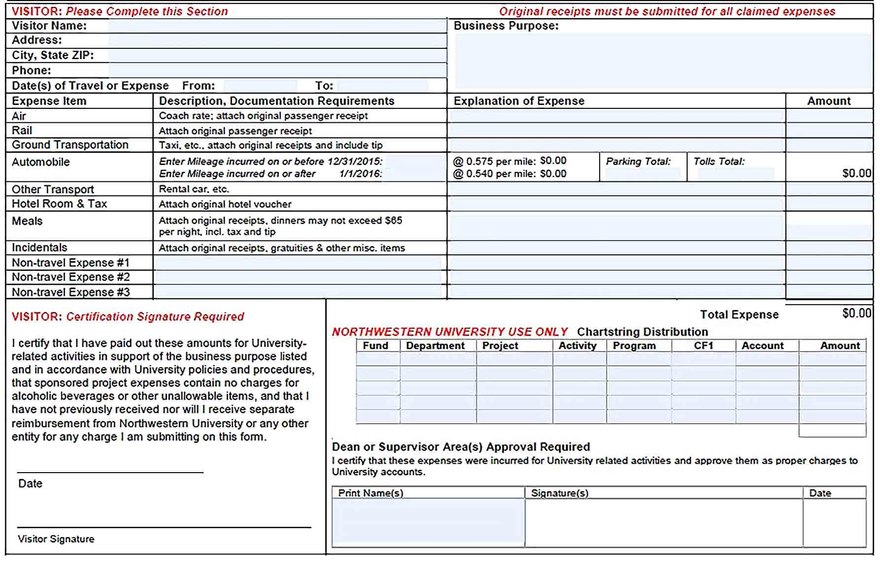Sample Visitors Expense Report