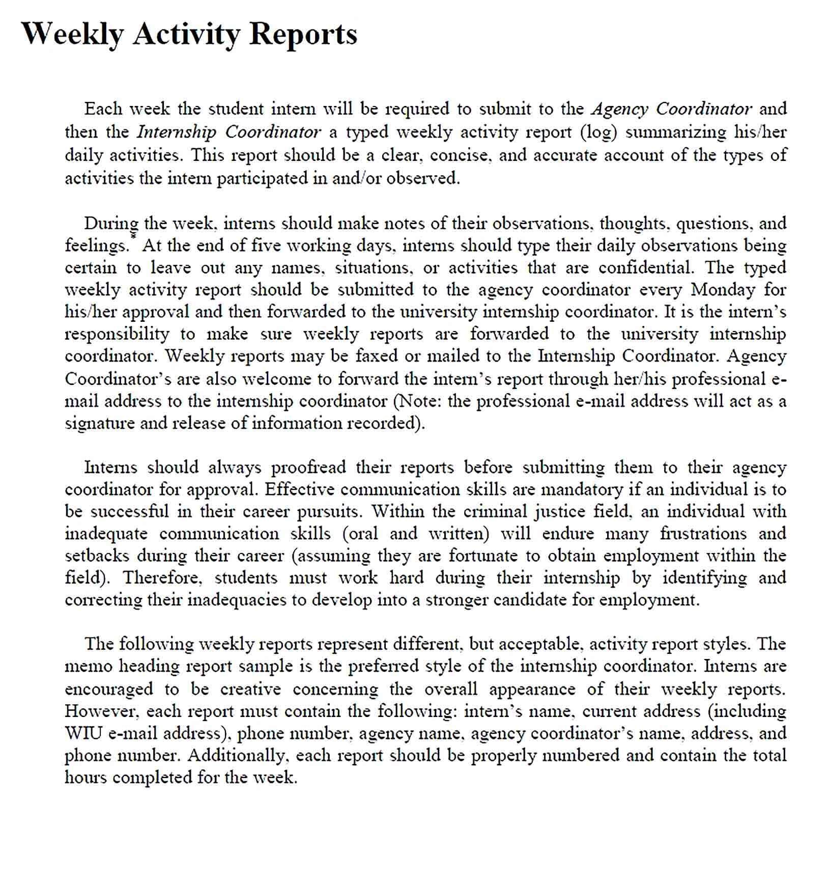 Sample Weekly Activity Report in PDF