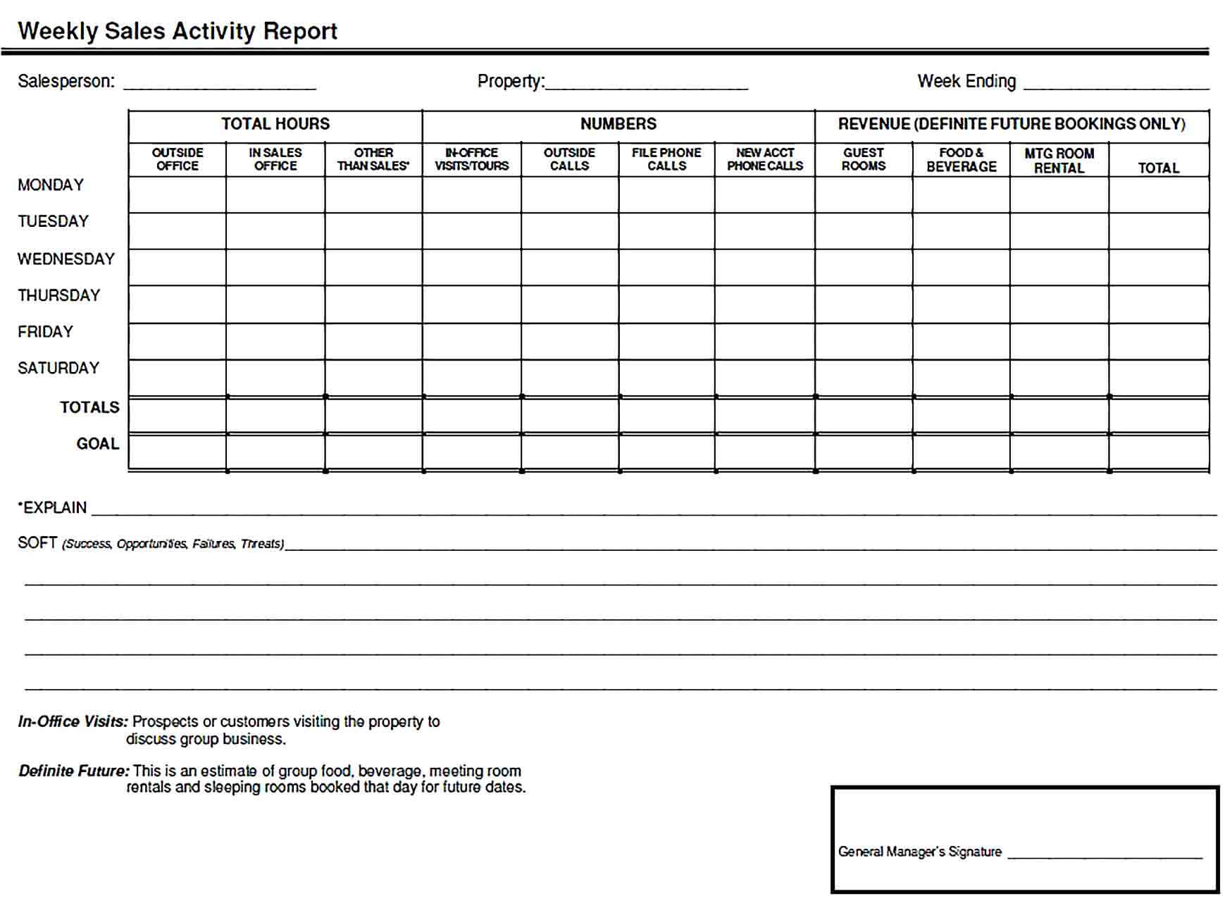 Sample Weekly Sales Activity Report Word Template