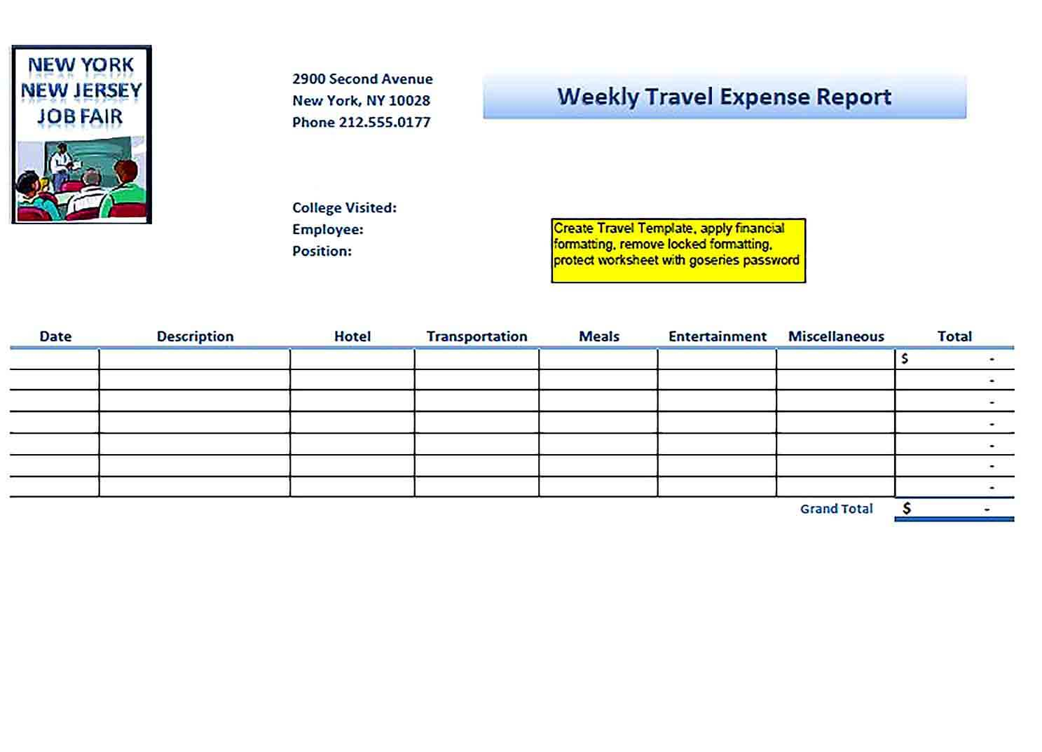 Sample Weekly Travel Expense Report