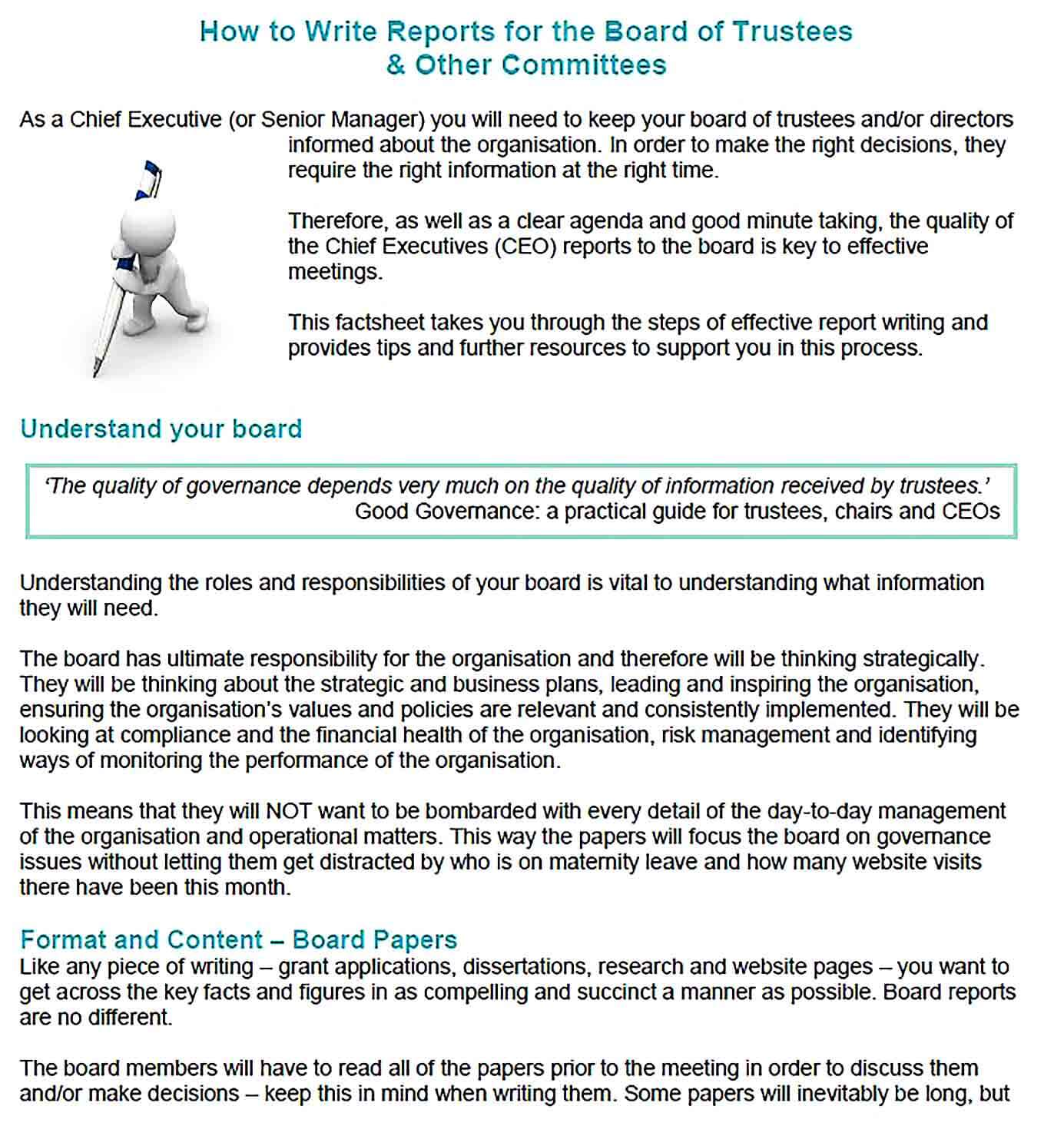 Sample Writing Reports for Board of Trustees Other Committees